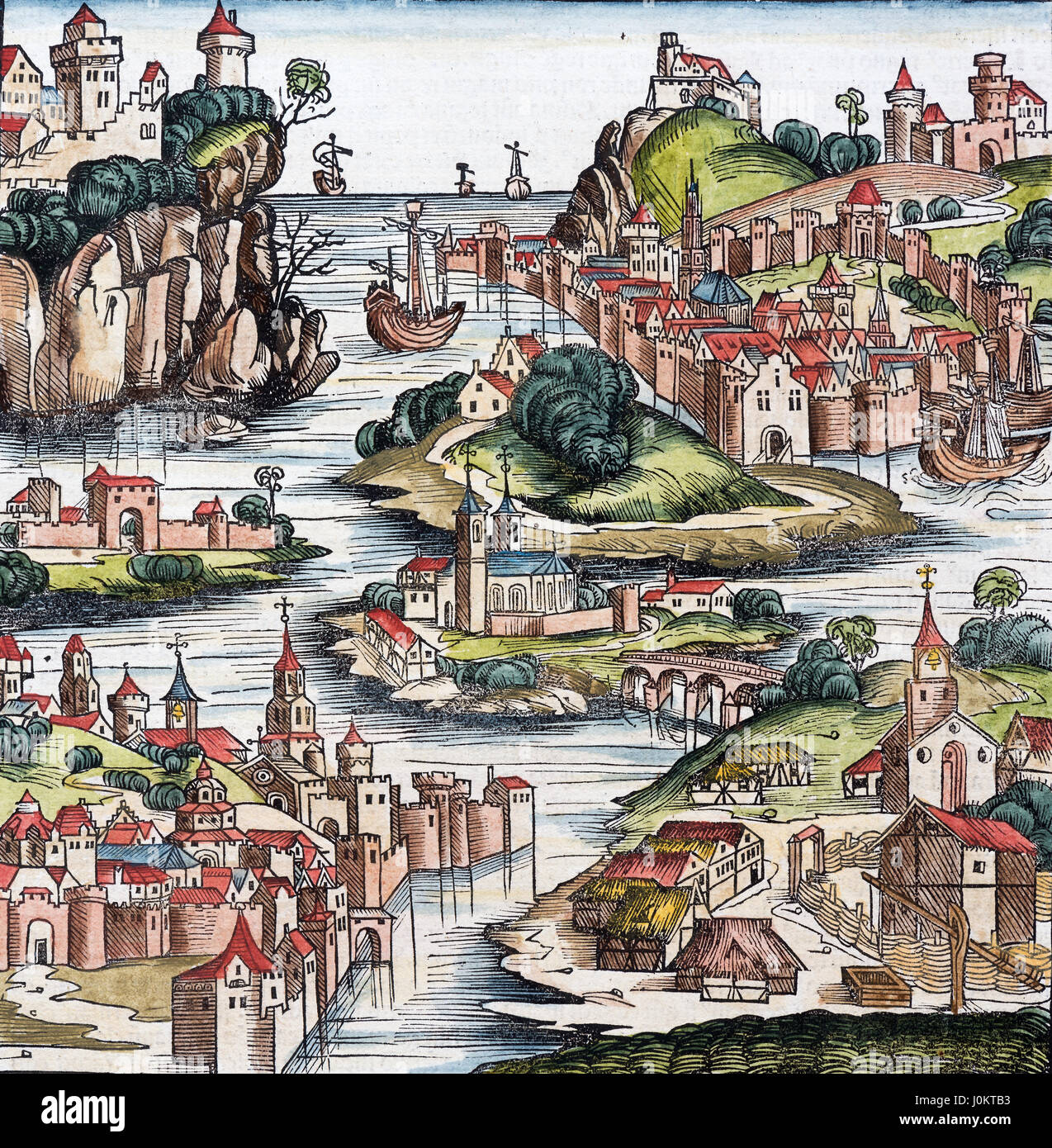 Colored woodcut fantasy view of Franken, from Schedelsche Weltchronik, 1493 - Stock Image