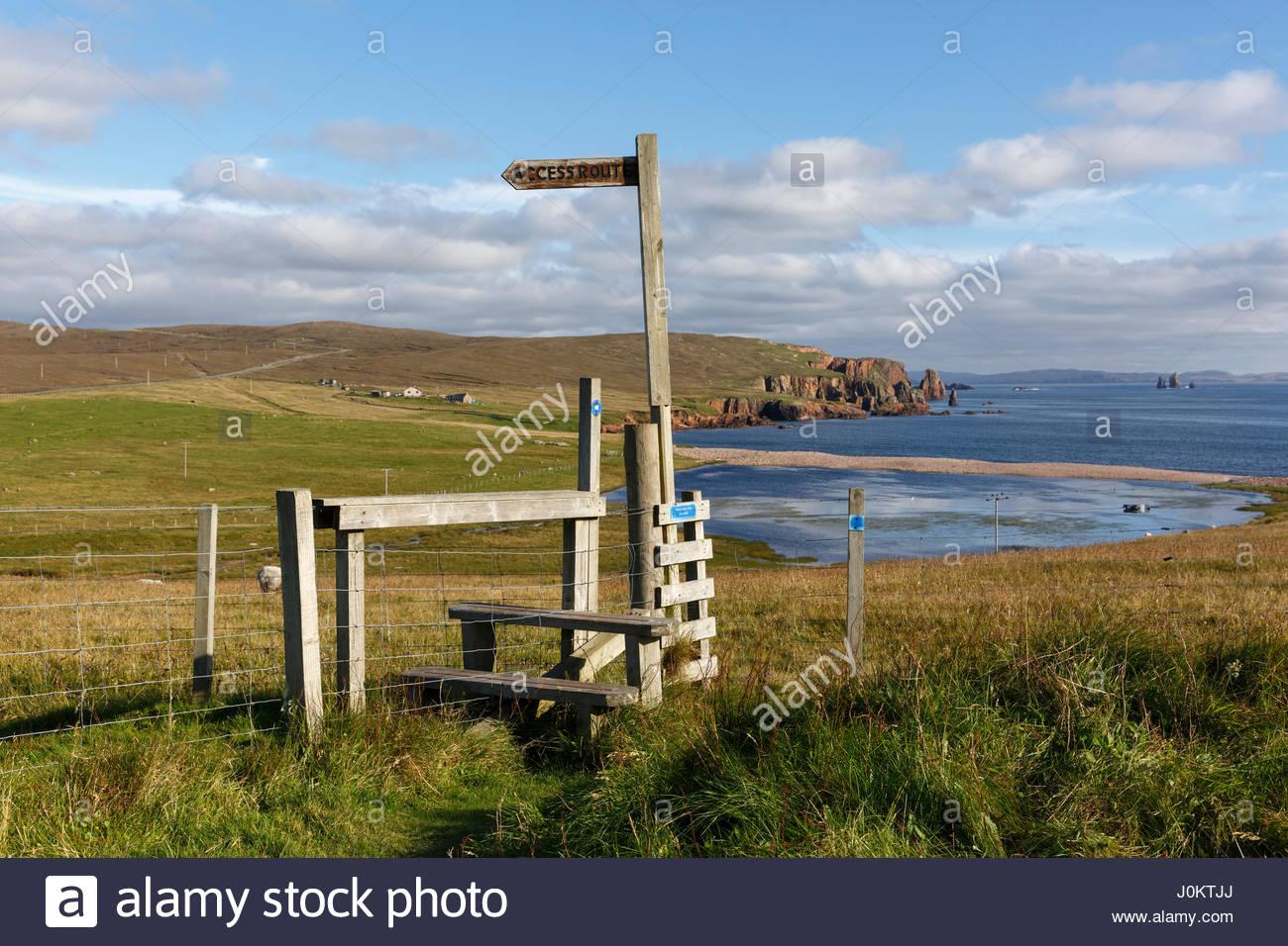 A stile and public access route near Braewick, Northmavine, Mainland, Shetland Islands, Scotland - Stock Image