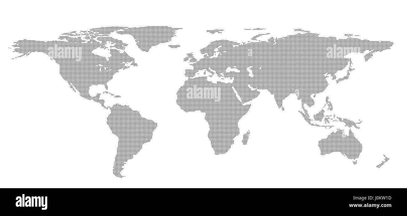 Blank dots World map isolated on white background. infographics, illustration - Stock Image
