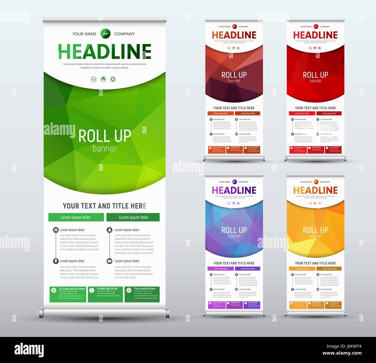 design roll up banner standard size template of a vertical brochure