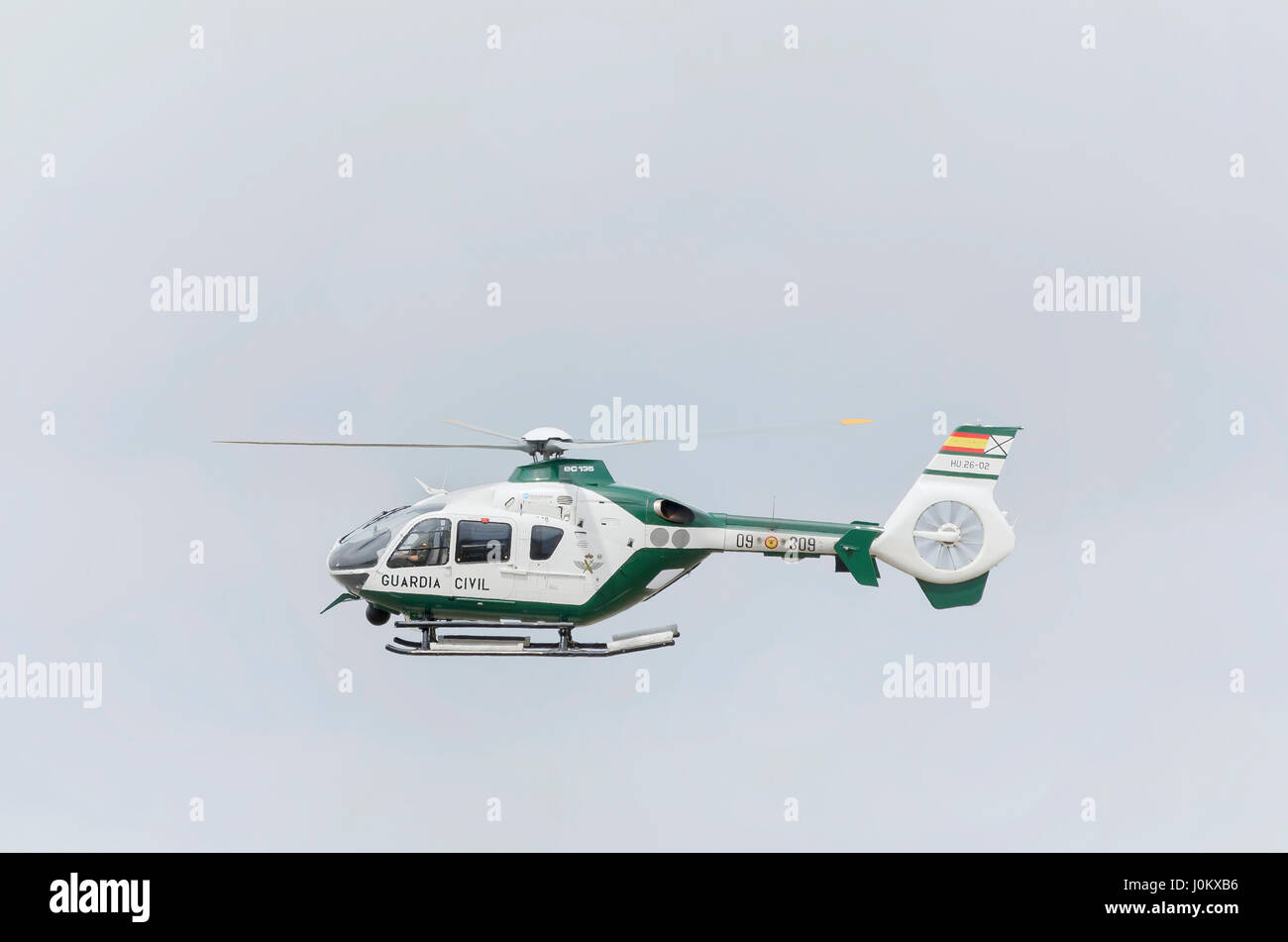 Spanish helicopter, Eurocopter EC135 (Airbus H135), of Guardia Civil is landing in Castellon de la Plana's airfield. - Stock Image