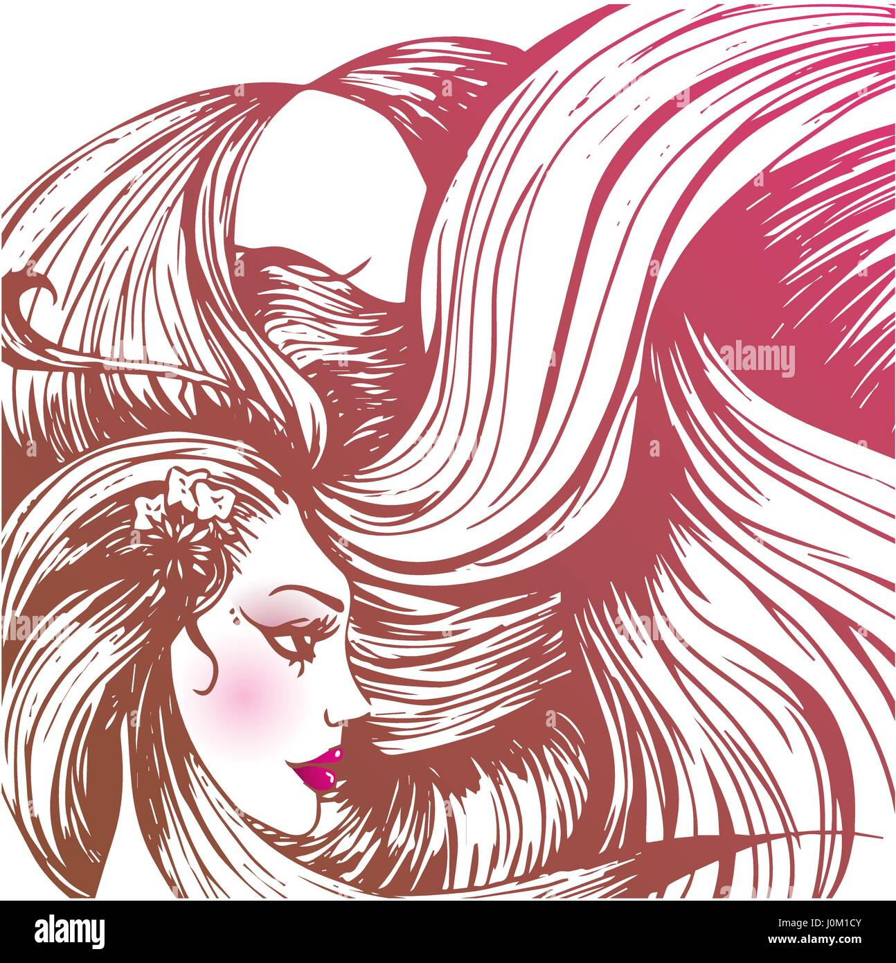 Vector illustration of a beautiful woman with long hairs Stock Vector