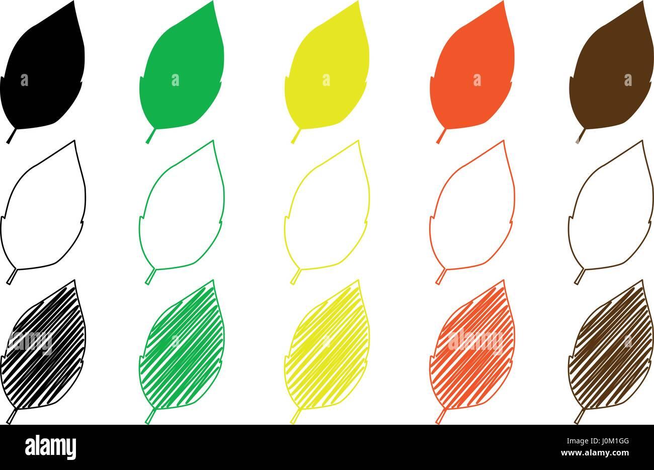 tobacco leaf vector illustration - set - Stock Vector