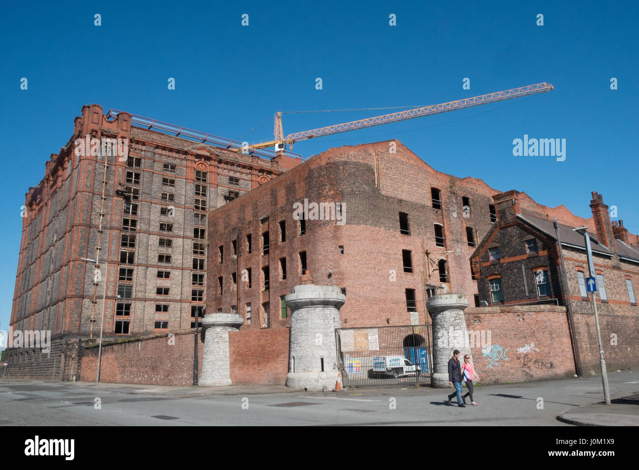 Stanley Dock,brick,warehouse,world's largest,brick,building,Liverpool,Merseyside,England,UNESCO,World Heritage City,City,North,England,English,UK. Stock Photo