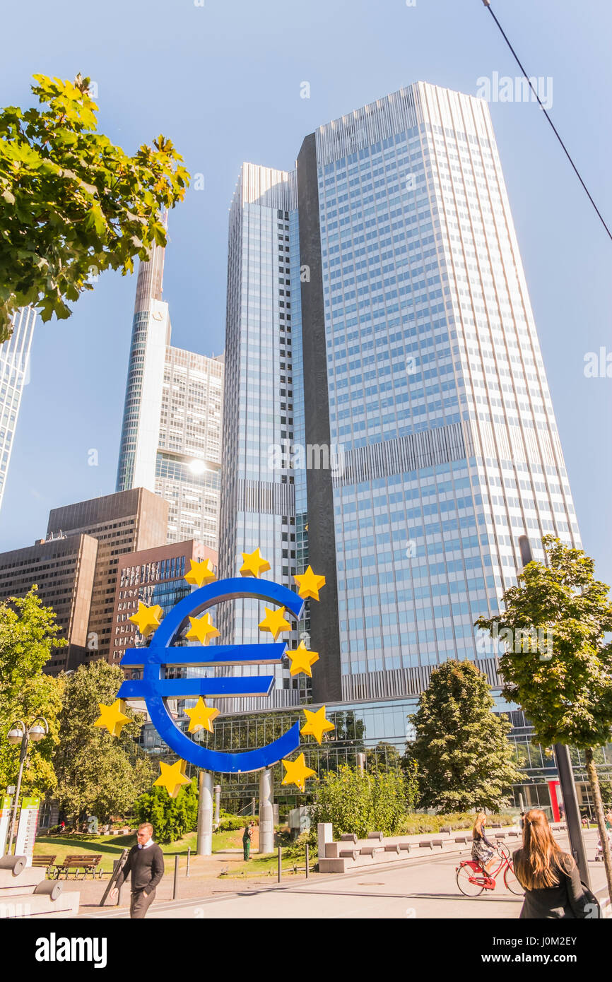 Euro Symbol In Front Of Eurotower European Central Bank Building Frankfurts Business District