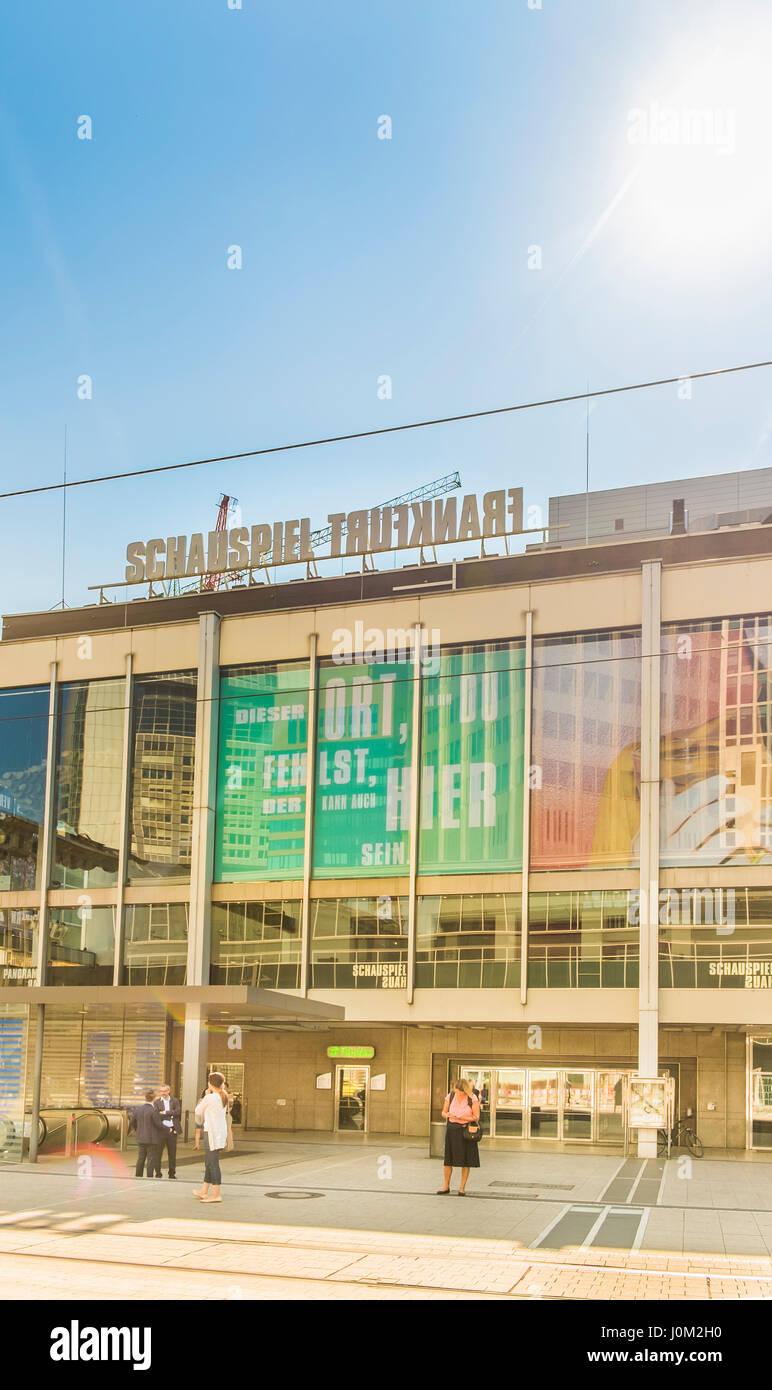street scene in front of schauspiel frankfurt, frankfurt theatre - Stock Image