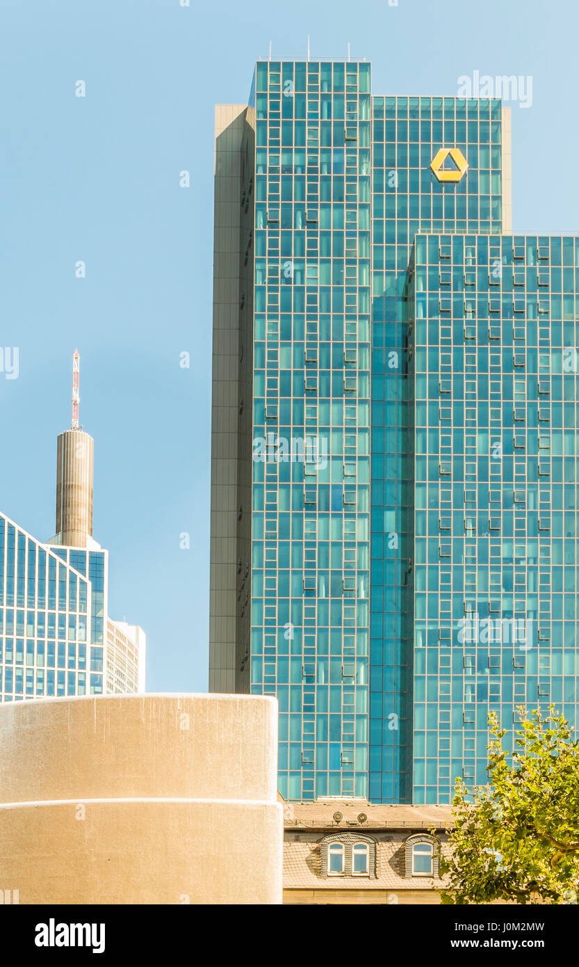 commerzbank tower and partial view of maintower and taunus tower, financial district, Stock Photo