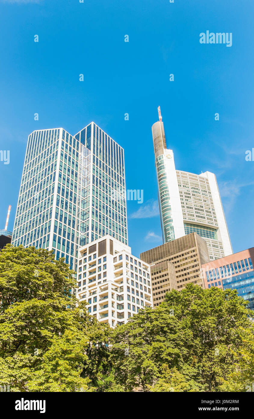 highrise buildings in the financial district of frankfurt am main - Stock Image
