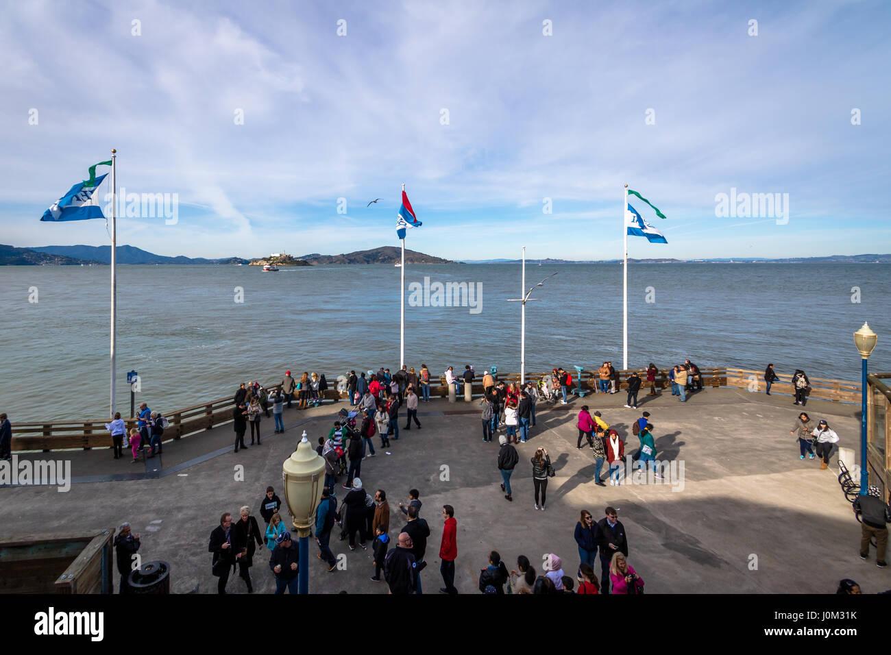 View of Alcatraz Island from Pier 39 in Fishermans Wharf - San Francisco, California, USA - Stock Image