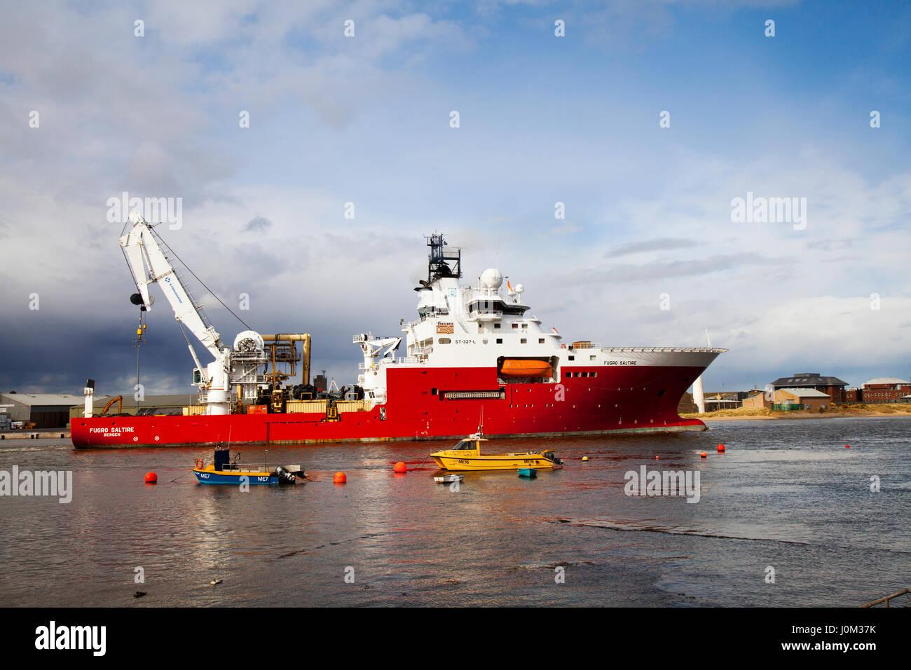 Montrose, Scotland, UK. Fugro Saltire is a purpose-built, deepwater ROV vessel, designed to meet predicted future - Stock Image