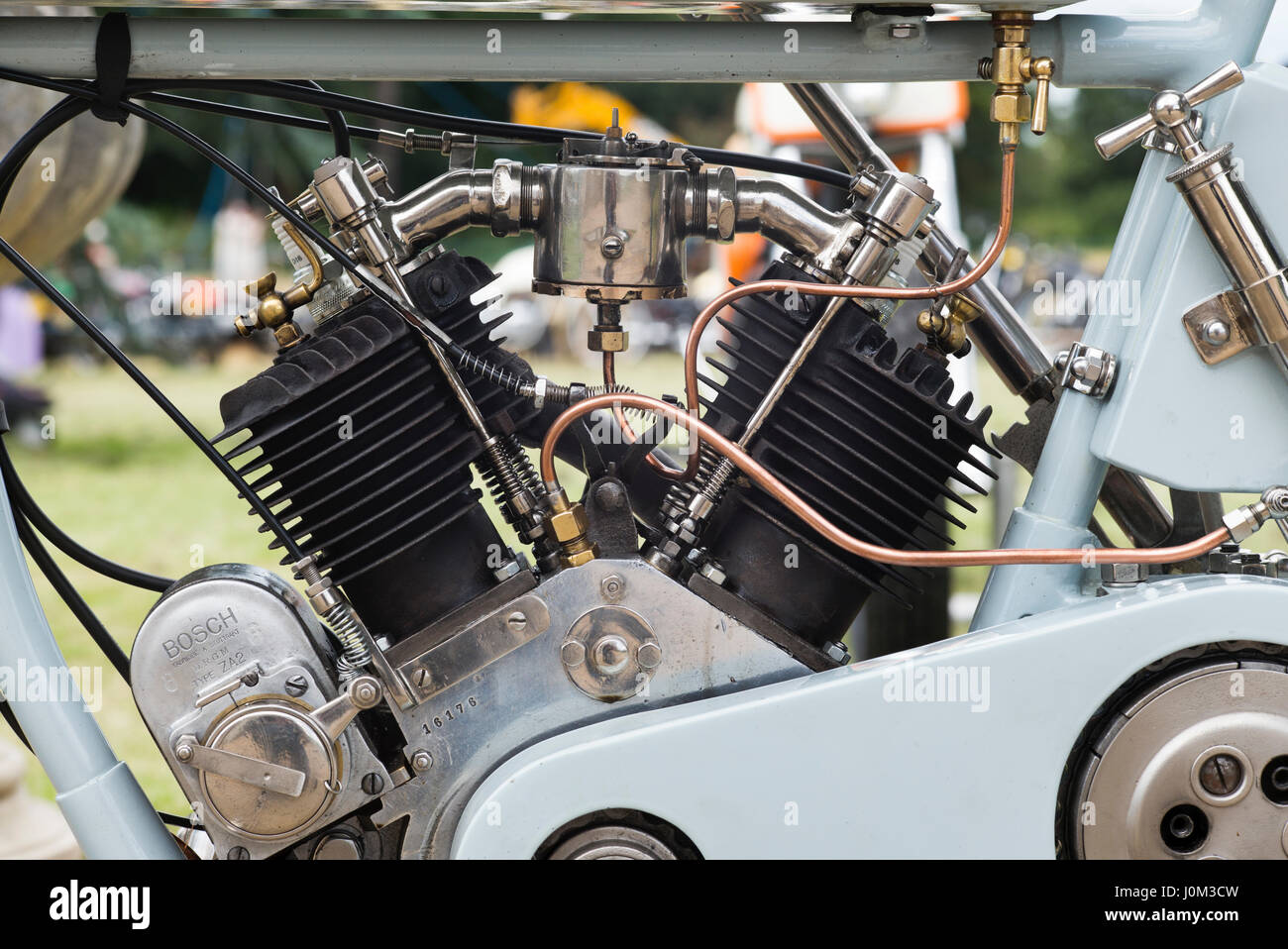 1917 Husqvarna motorcycle engine at Malle, The Mile Racing event. London - Stock Image