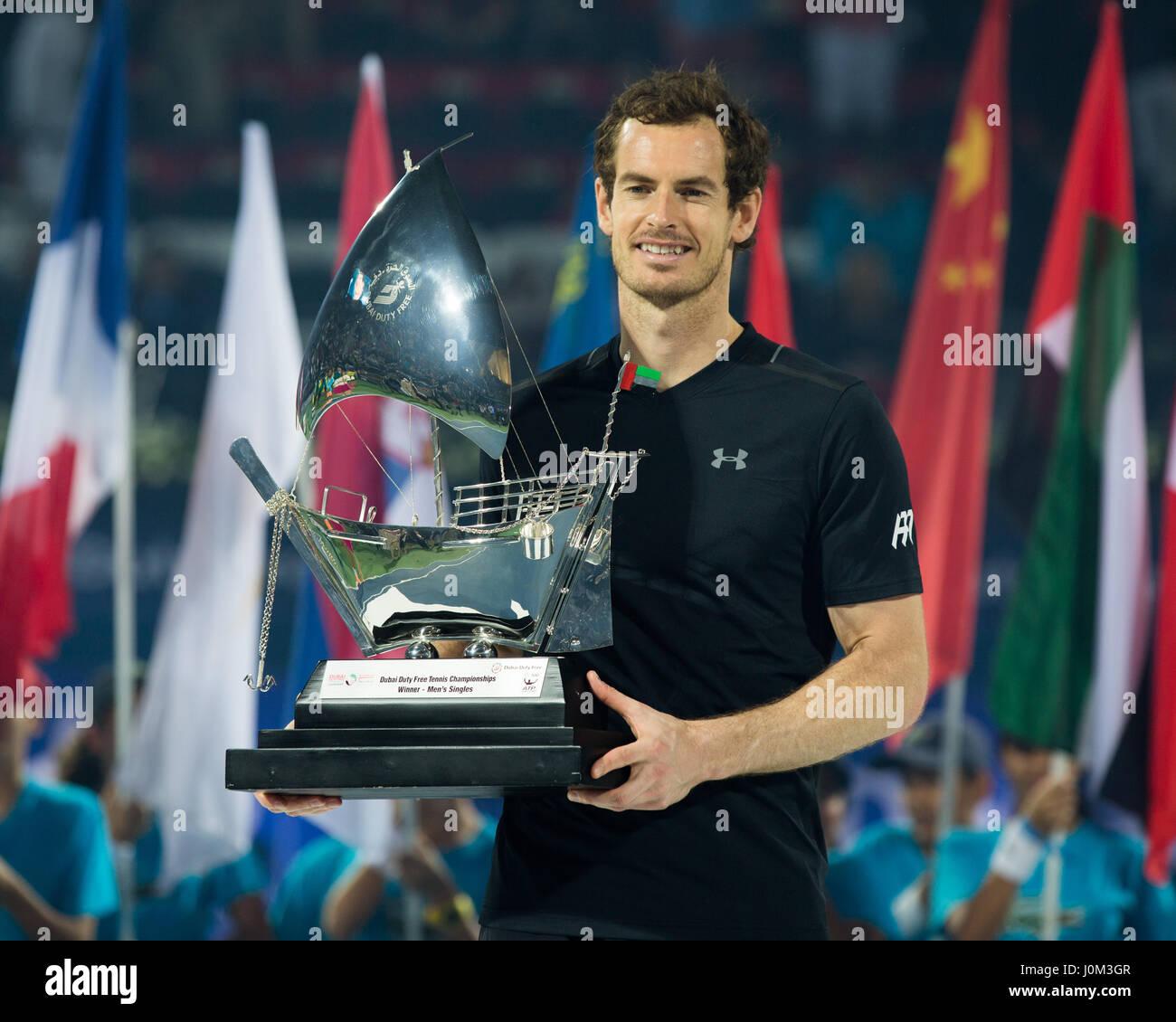 ANDY MURRAY (GBR), Herren Finale, Siegerehrung, Praesentation  Tennis - Dubai Duty Free Tennis Championships - ATP - Stock Image