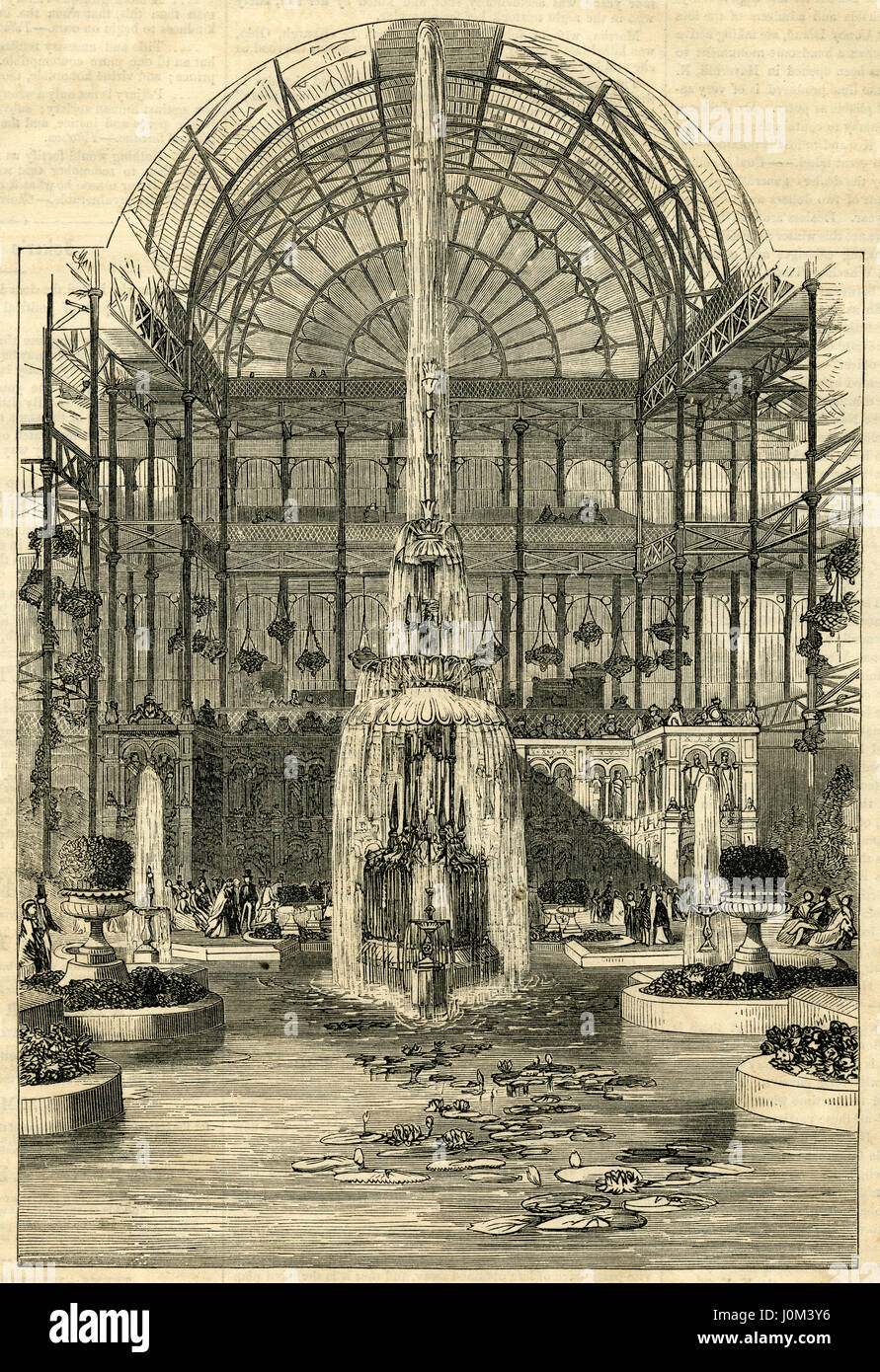 Antique 1854 engraving, 'Crystal Fountain at the Crystal Palace, Sydenham, England.' The Crystal Palace - Stock Image