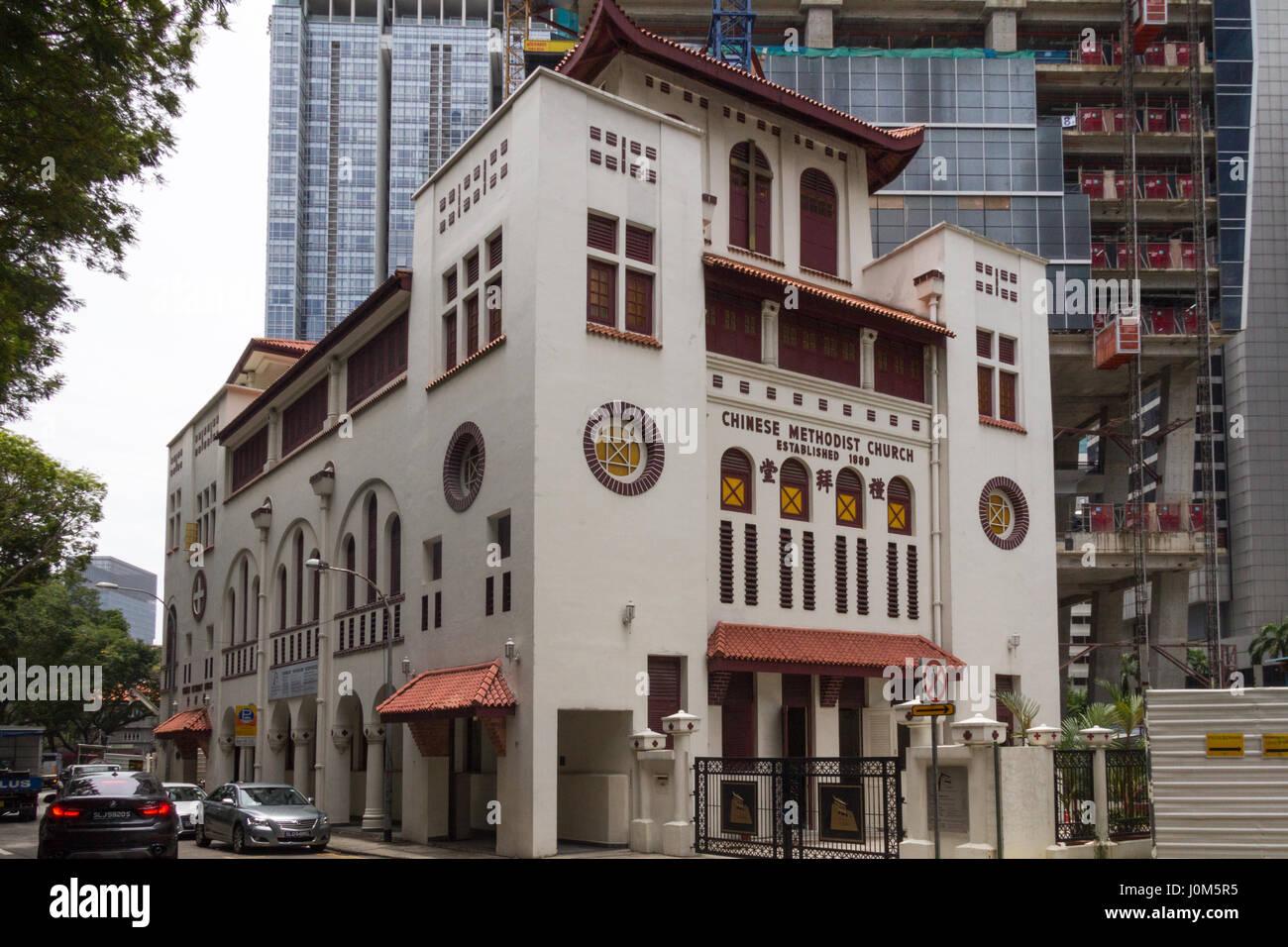 Chinese Methodist Church on Telok Ayer street in Singapore - Stock Image