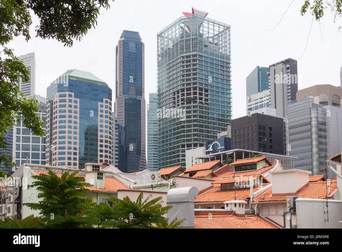 Old tiled roofs and modern architecture, Ann Siang Hill, Singapore - Stock Image