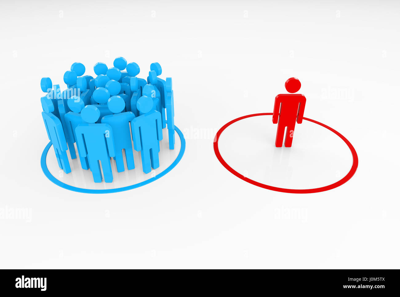This image shows a person detached from a group. This person can be their leader, or someone who excelled in the - Stock Image