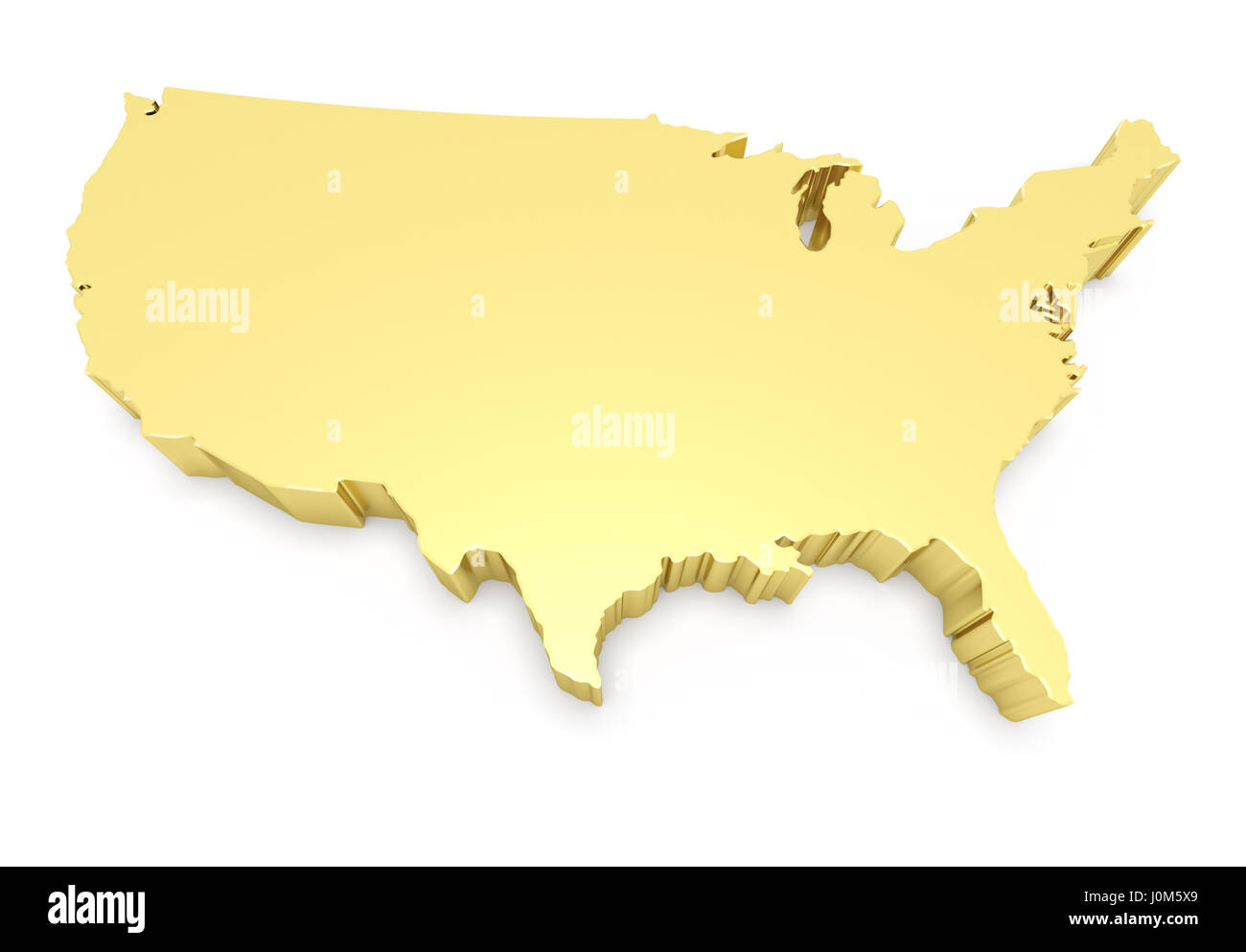 United States of America high resolution rendered golden map Stock