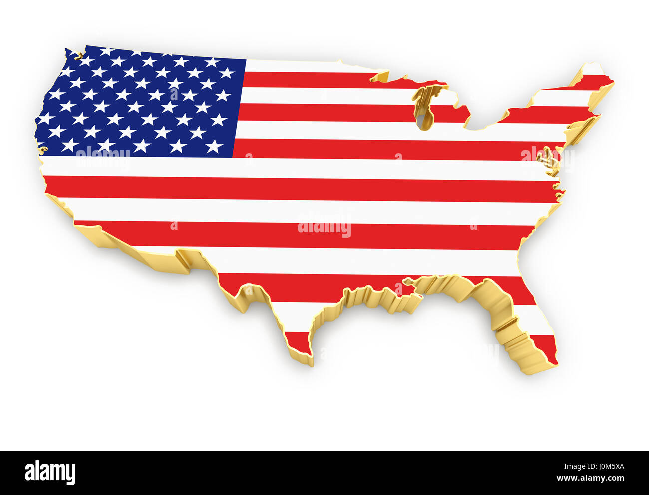United States Of America High Resolution Rendered Golden Map Stock Photo Alamy