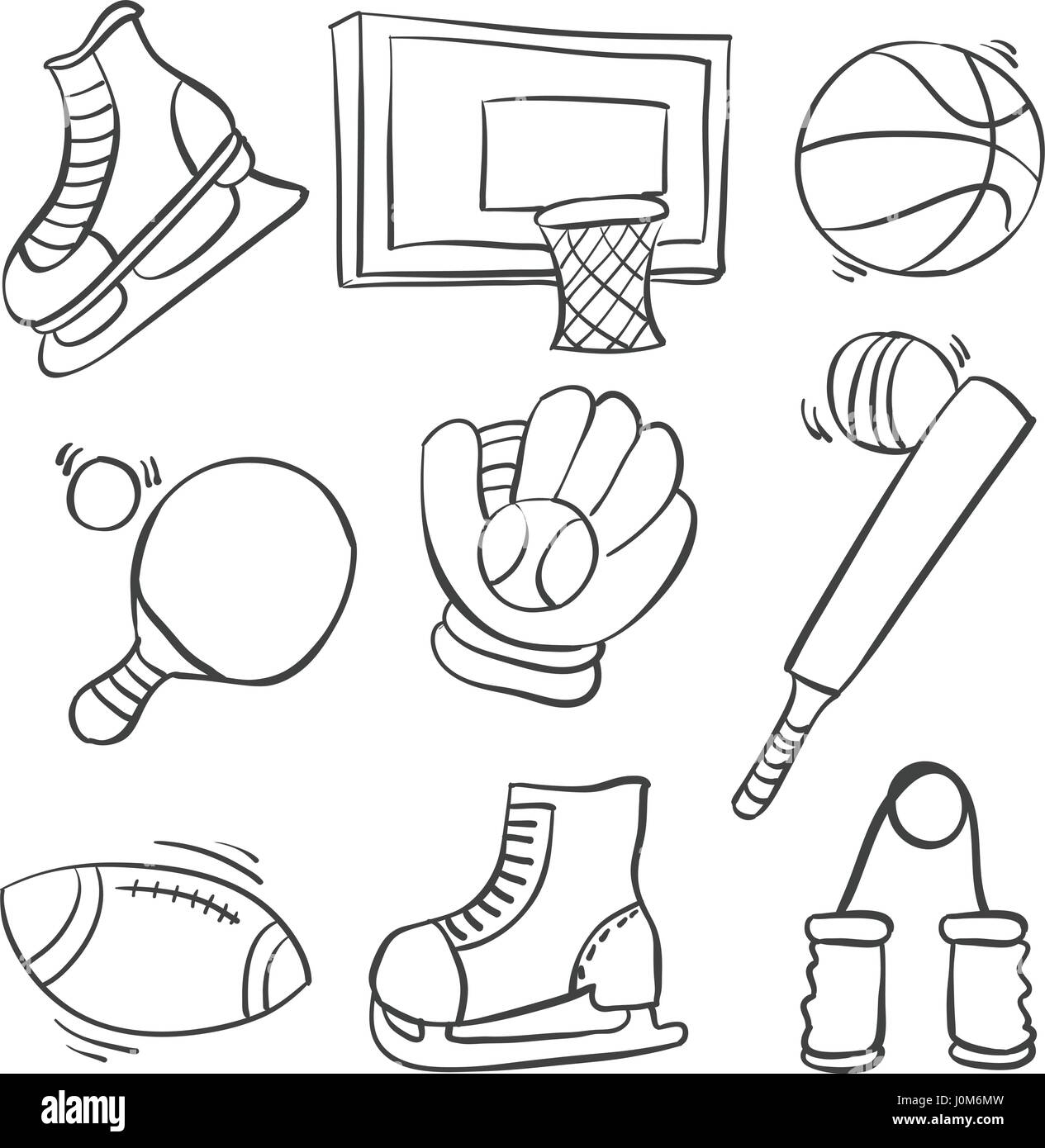 Doodle of sport equipment various collection - Stock Image