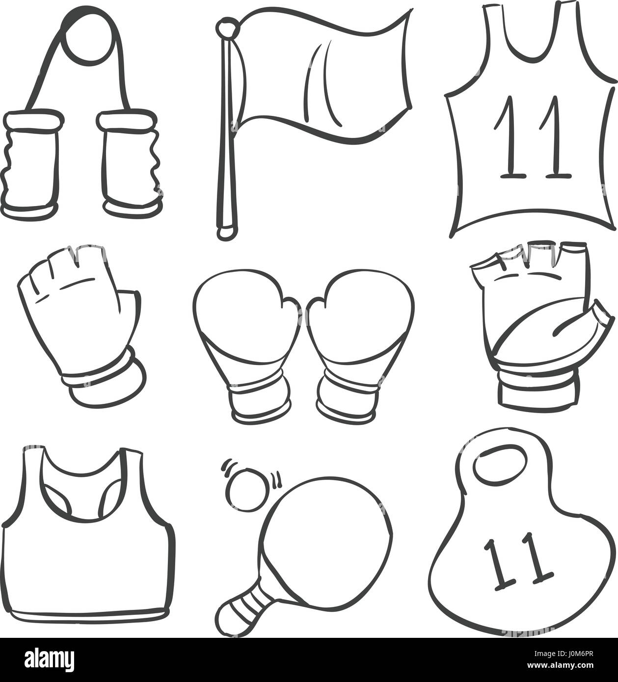 Collection stock sport equipment doodles - Stock Image