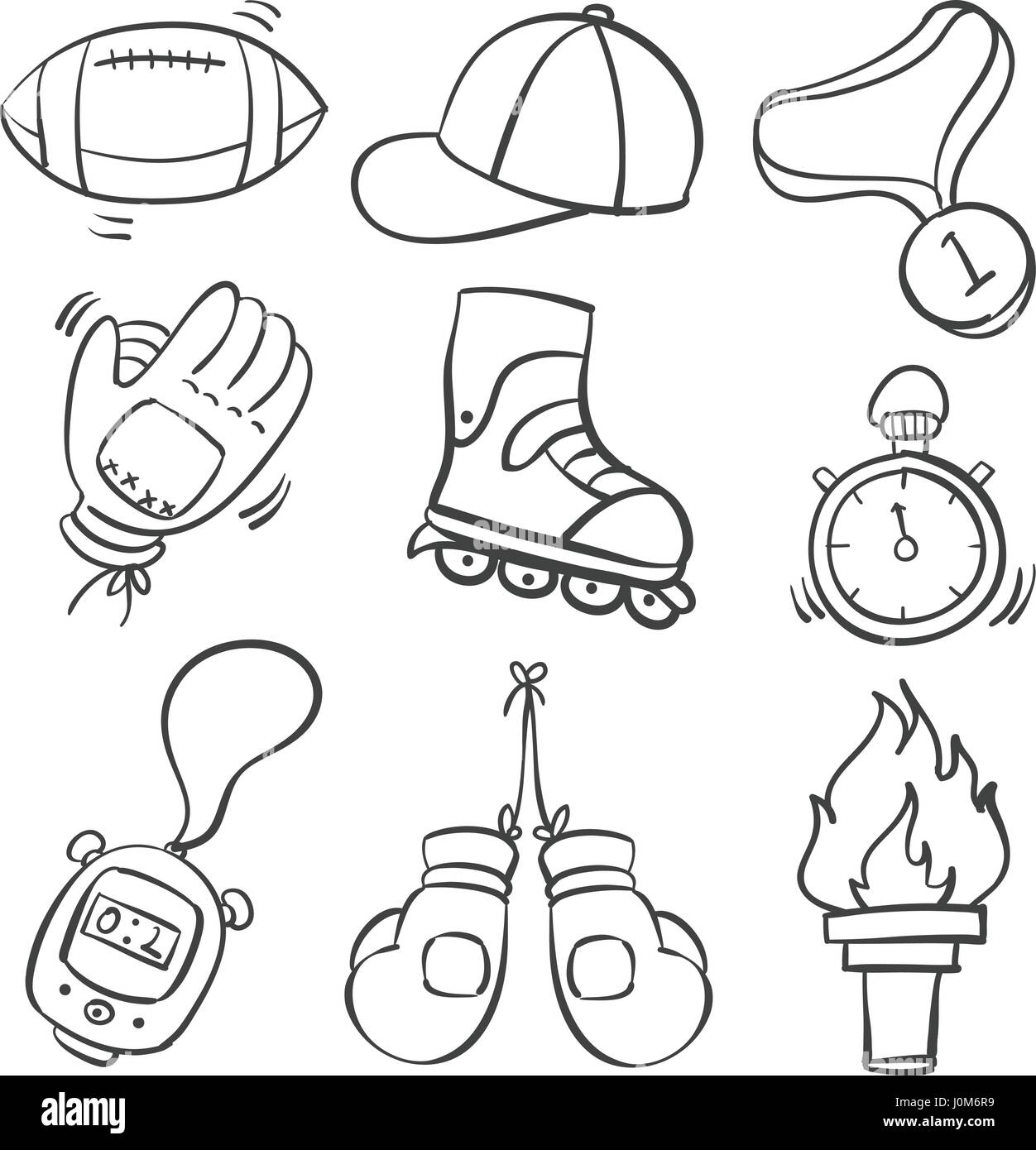 Doodle of sport object various - Stock Image