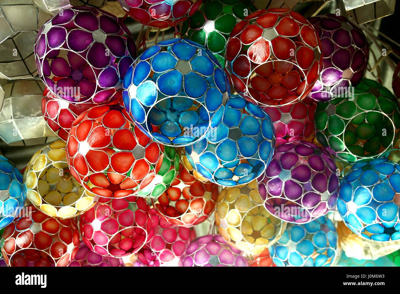 Colorful Capiz Shell Lamp Shades Sold At A Home Decor Store Stock Photo:  138127391   Alamy