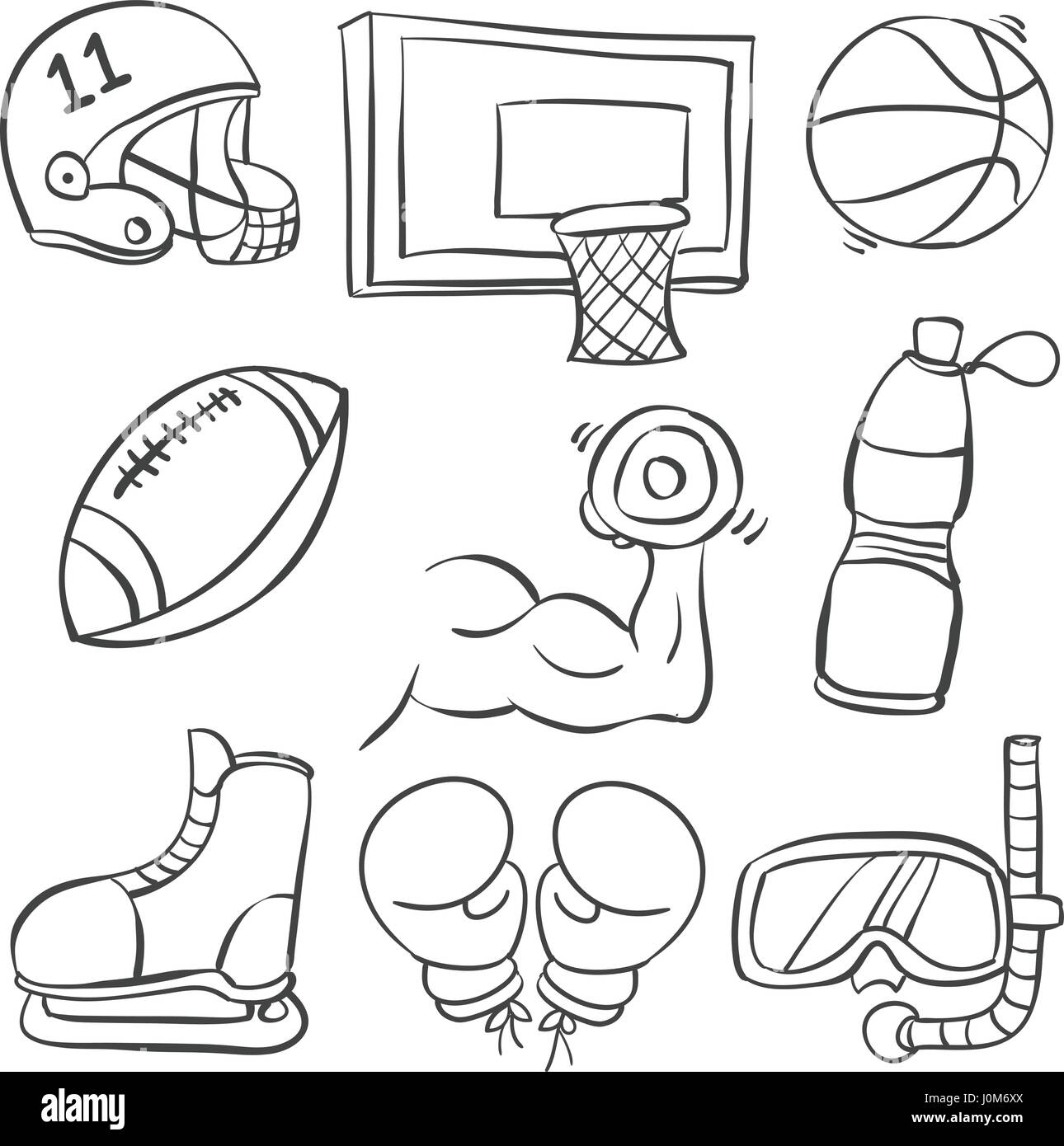 Doodle of sport equipment various style - Stock Image