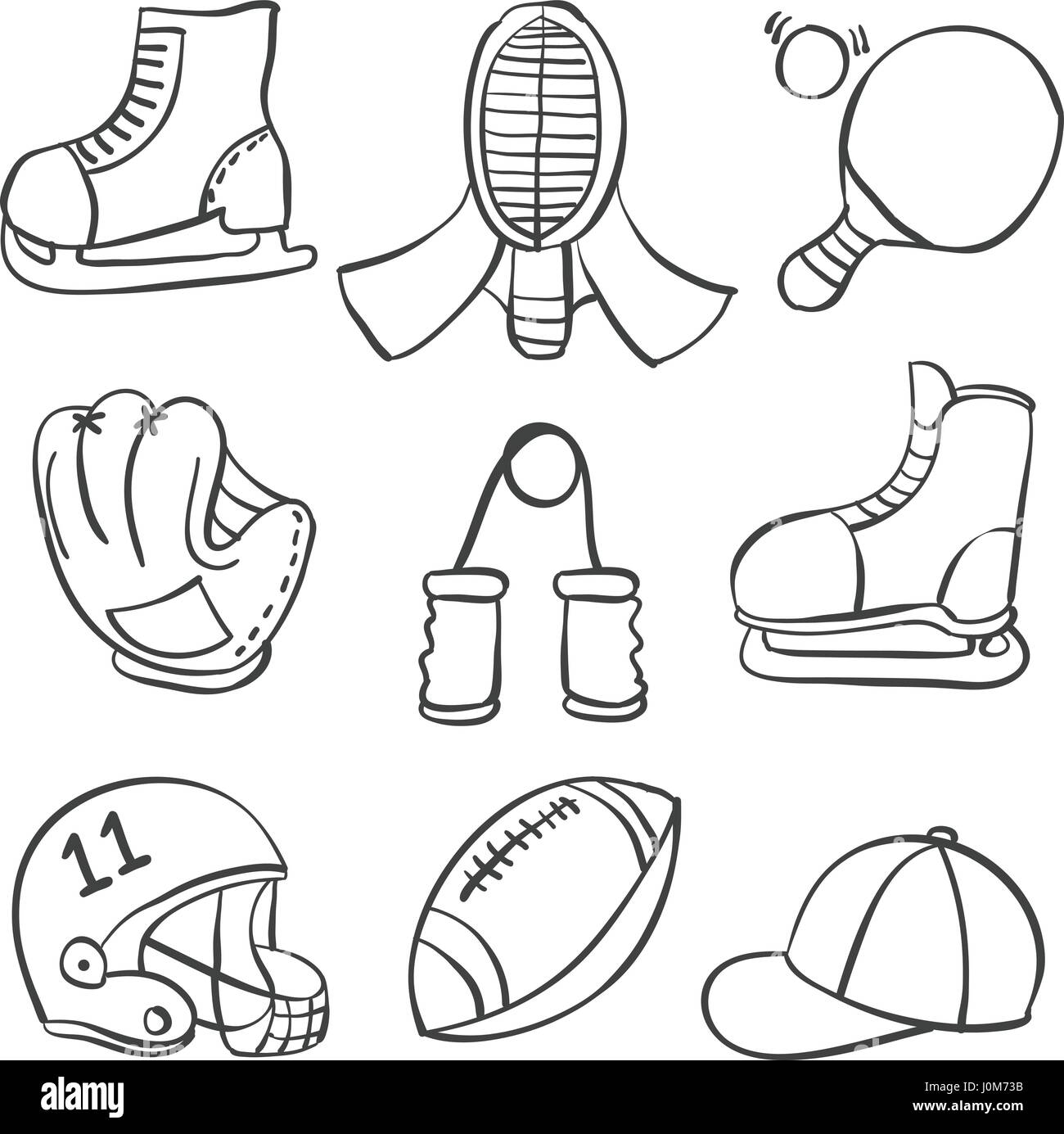 Illustration vector sport equipment various doodles - Stock Image
