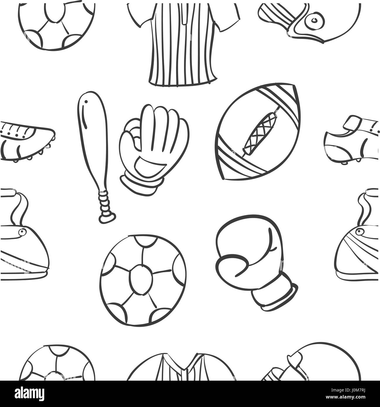 Vector ilustration sport equipment doodles - Stock Image