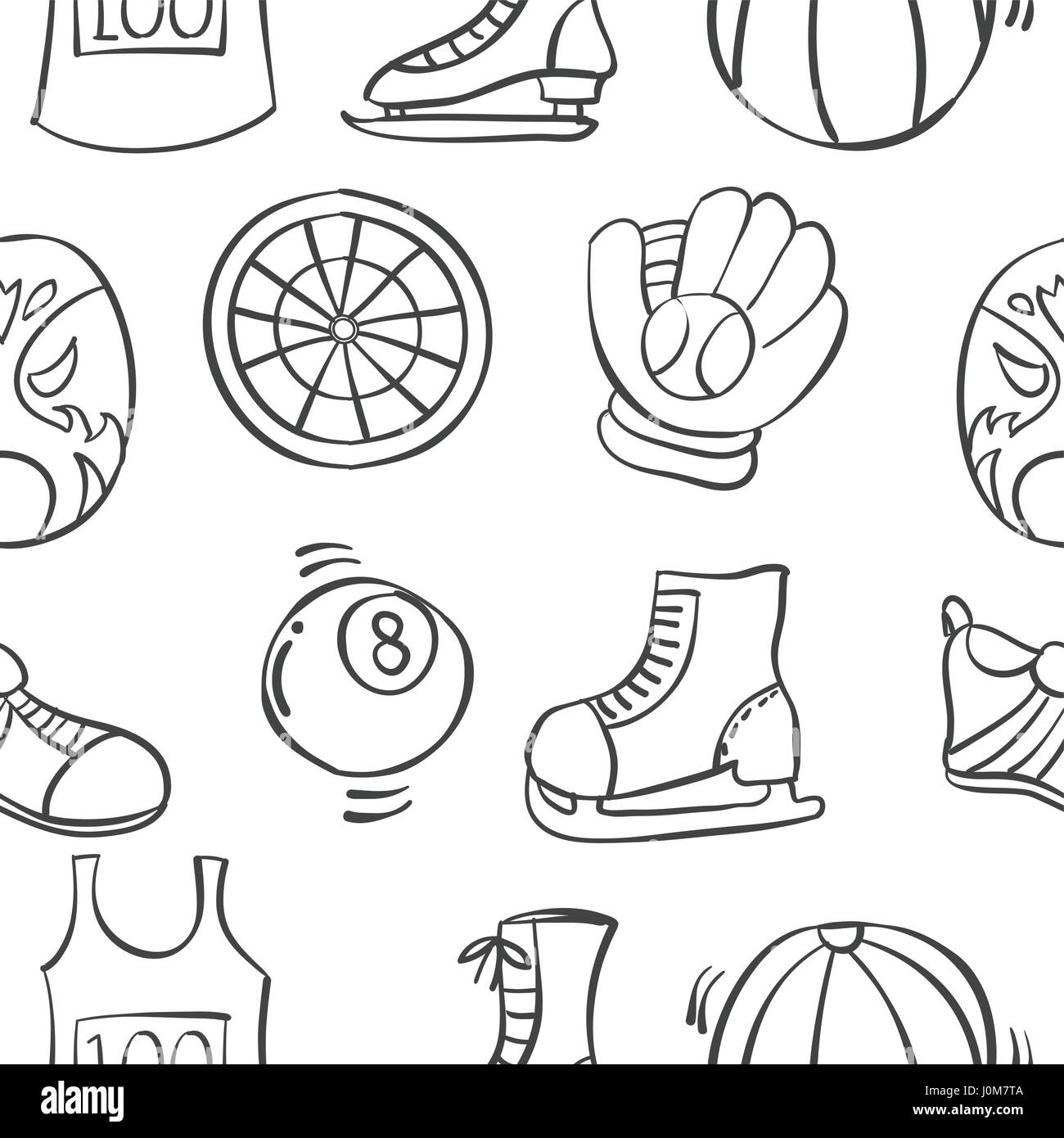 Doodle of sport equipment various pattern - Stock Image
