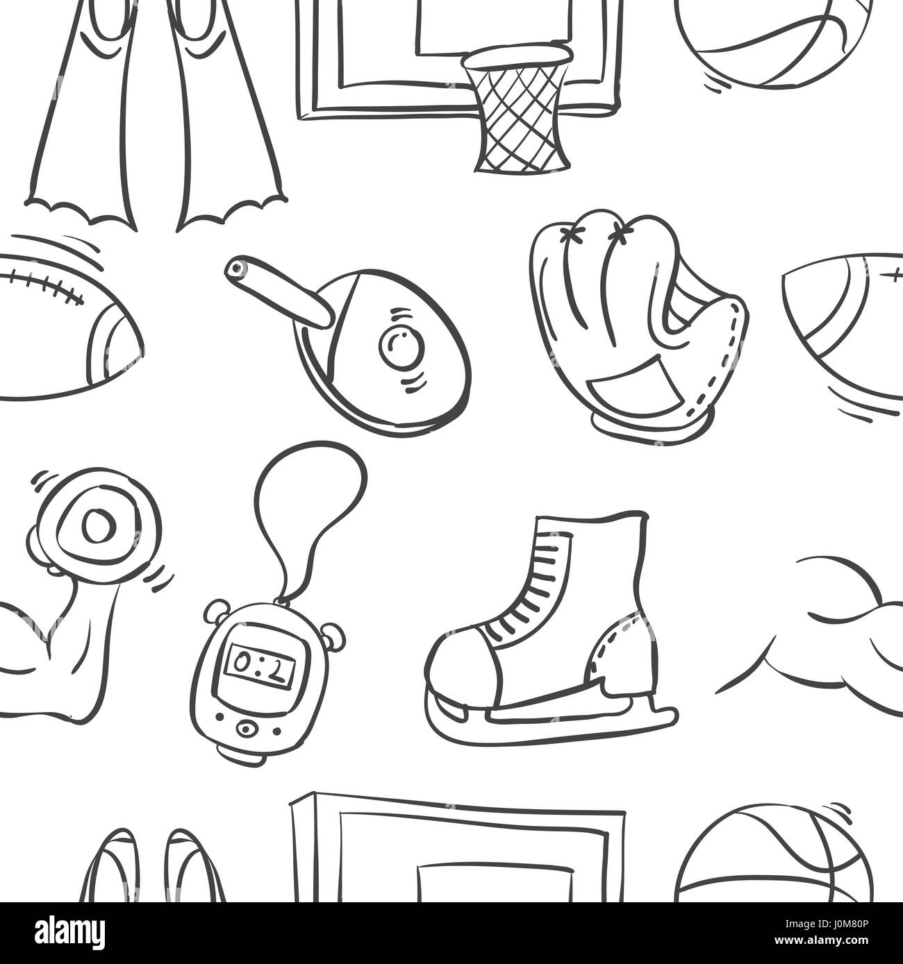 Collection of sport equipment doodle style - Stock Image
