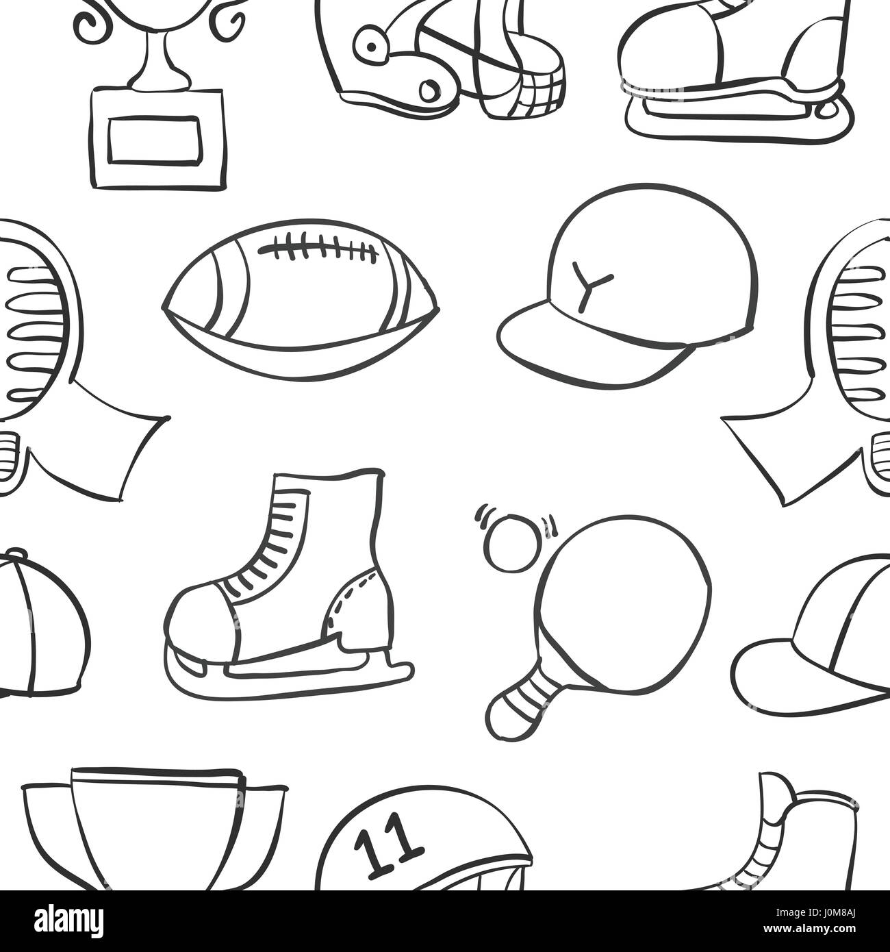 Doodle of sport equipment collection stock - Stock Image