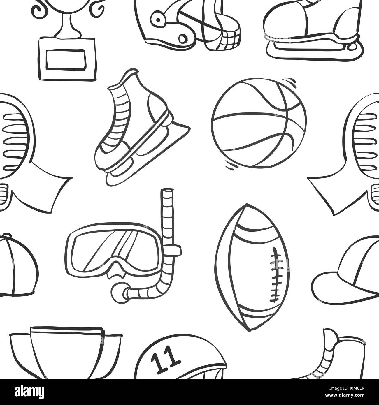 Collection of sport equipment style doodles - Stock Image