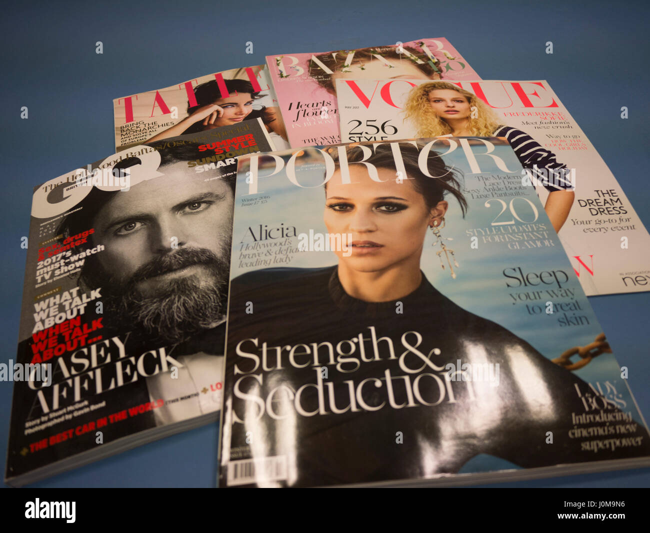 Luxury UK magazines, Porter, Vogue, GQ, Harpers Bazaar, Tatler, - Stock Image