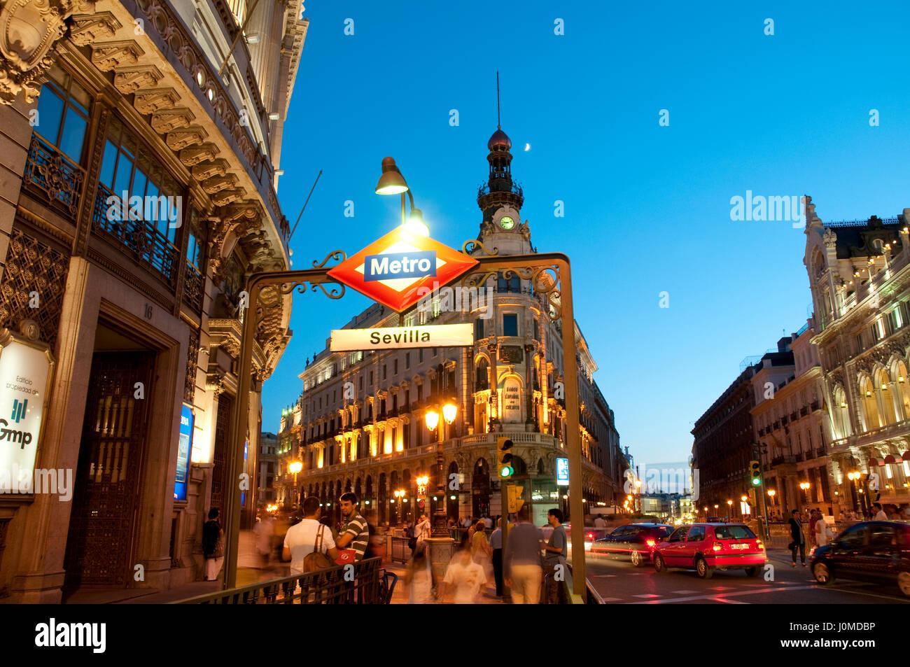 Metro Sevilla entrance, night view. Madrid, Spain. - Stock Image
