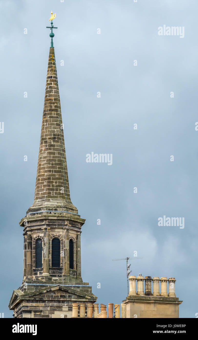 Zoomed view of Haddington Town Hall spire with chimney pots skyline, Haddington, East Lothian, Scotland, UK - Stock Image