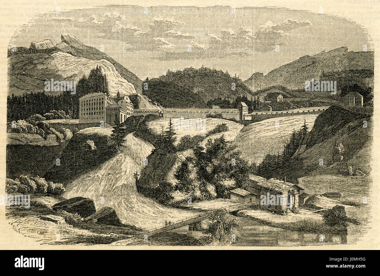 Antique 1854 engraving, 'Mineral Baths at Gastein in Germany.' Bad Gastein (formerly Badgastein) is a spa - Stock Image