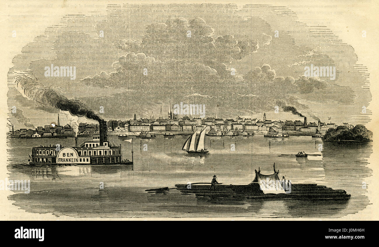 Antique 1854 engraving, 'View of the City of Louisville, Kentucky.' Louisville is the largest city in the - Stock Image