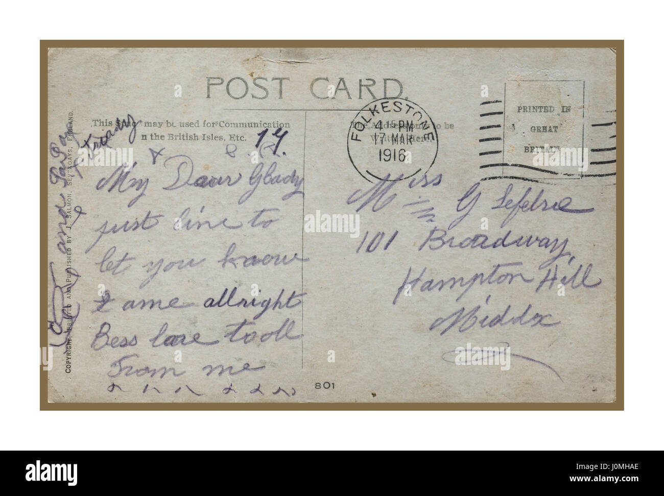 Poignant World War 1 postcard sent last minute in 1916 from Folkestone by British soldier en-route to fight in France - Stock Image