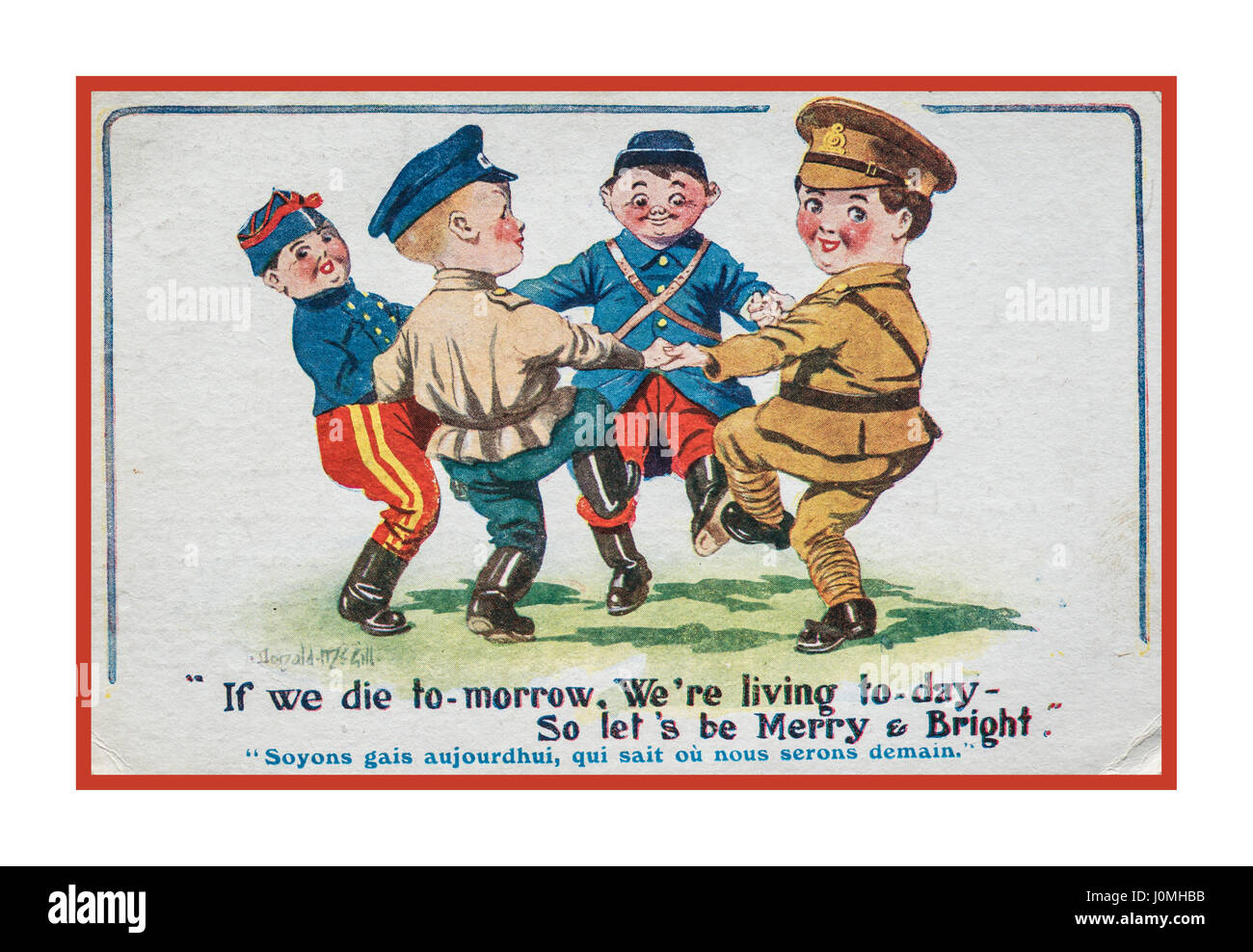 Vintage historic World War 1 postcard dated 1916 from a serving British soldier on The Western Front illustrating - Stock Image