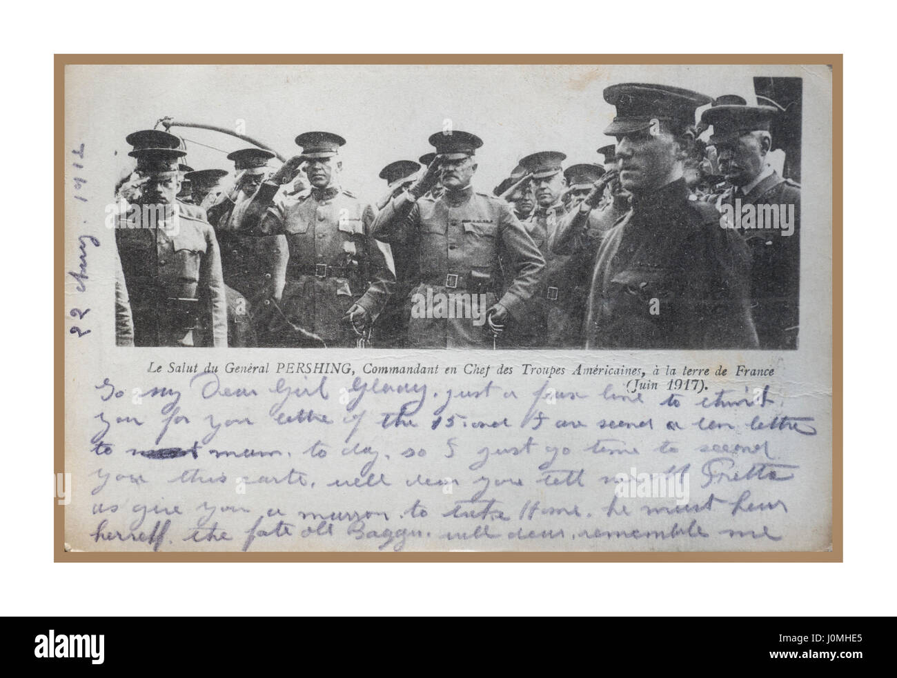 Poignant vintage historic official World War I - 1917 postcard, sent from the battle front in France, by a British - Stock Image