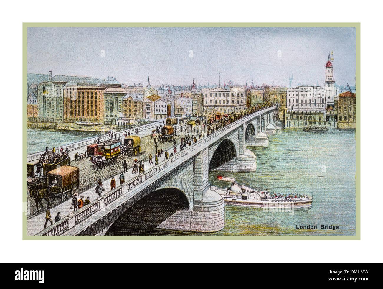 VINTAGE LONDON 1890's/1900's historic colour postcard illustration of London Bridge with horse drawn carriages - Stock Image