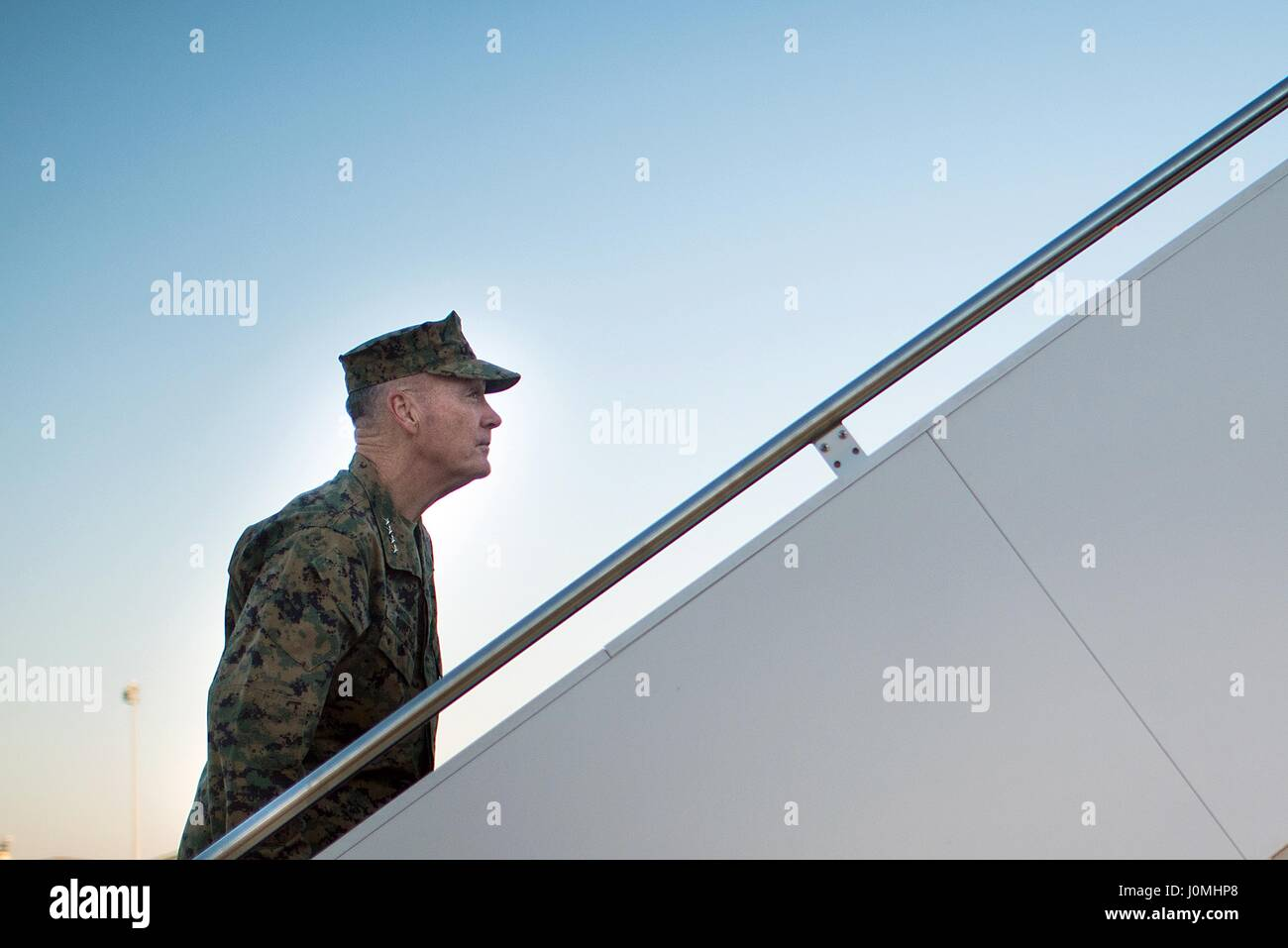 Joseph F Dunford, the chairman of the Joint Chiefs of Staff, boards a C-32 aircraft at Andrews, AFB, Maryland, February - Stock Image
