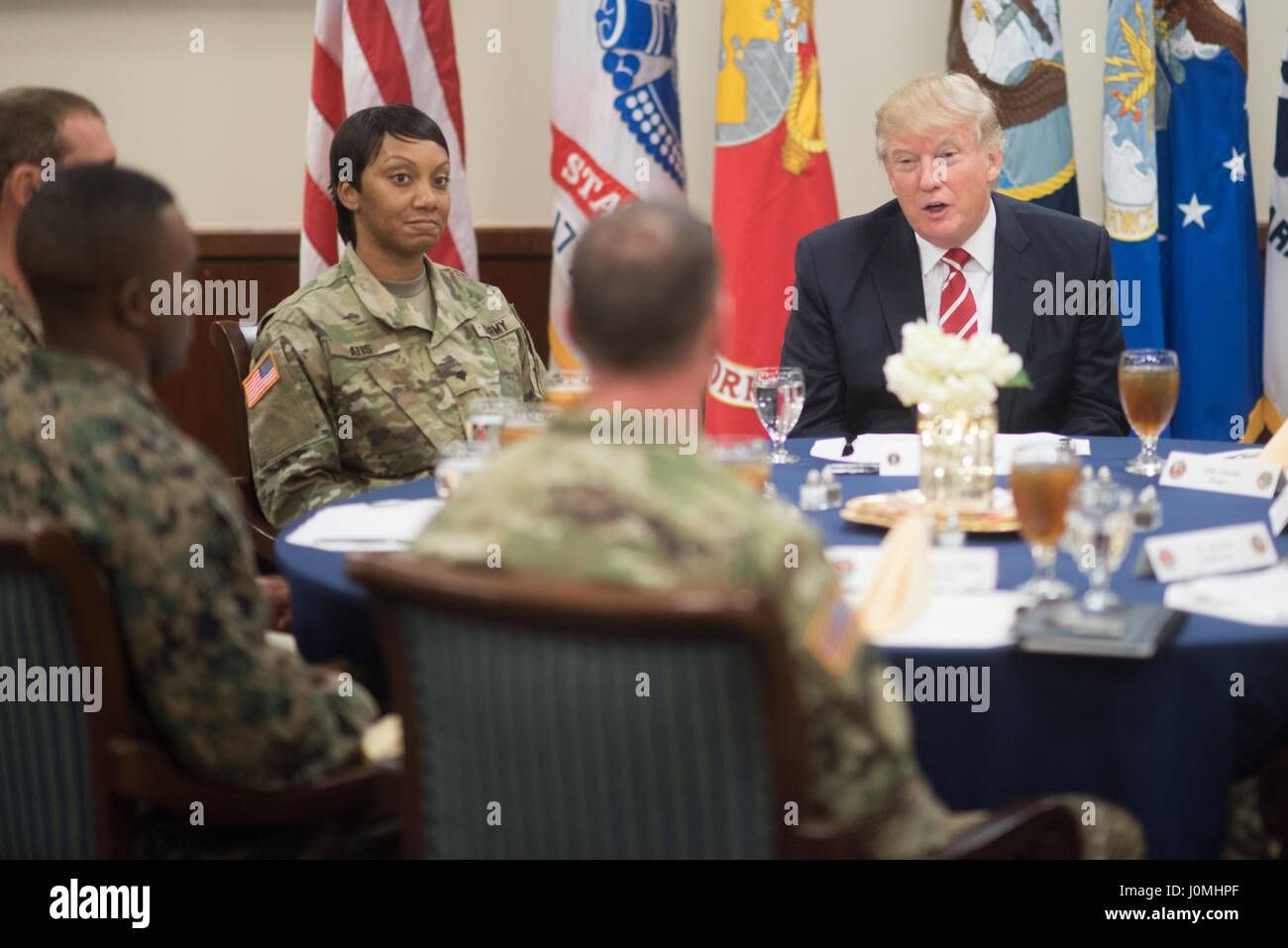President Donald Trump has lunch with troops while visiting US Central Command and US Special Operations Command Stock Photo
