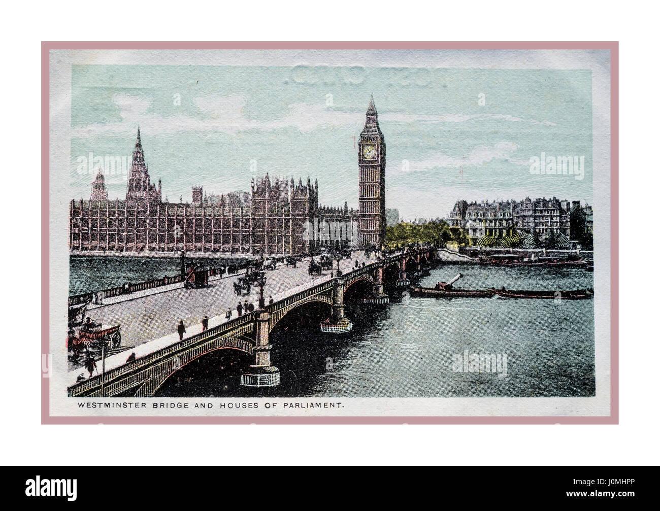 Vintage 1900's travel retro colour postcard of Westminster Bridge and Houses of Parliament London UK - Stock Image