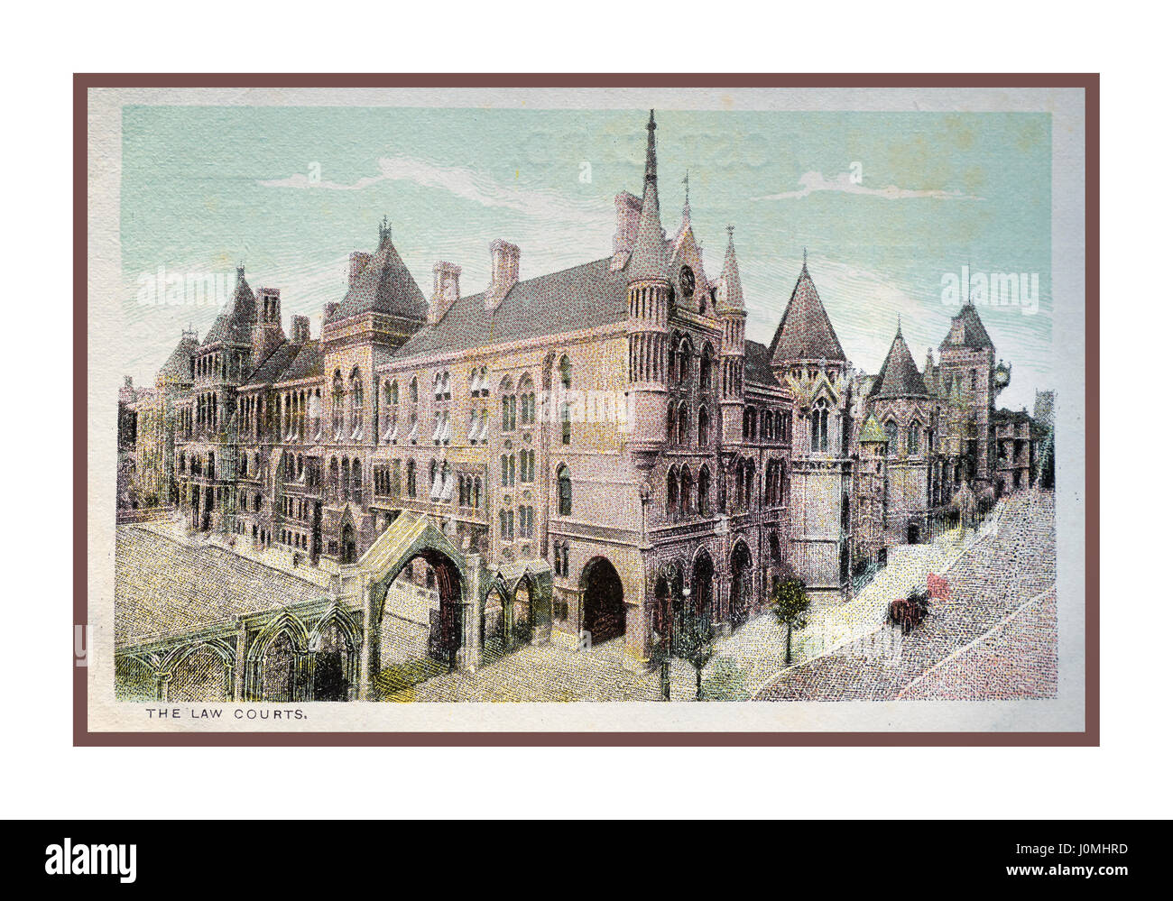 Vintage historic 1890's illustration of Royal Courts of Justice Holborn London - Stock Image