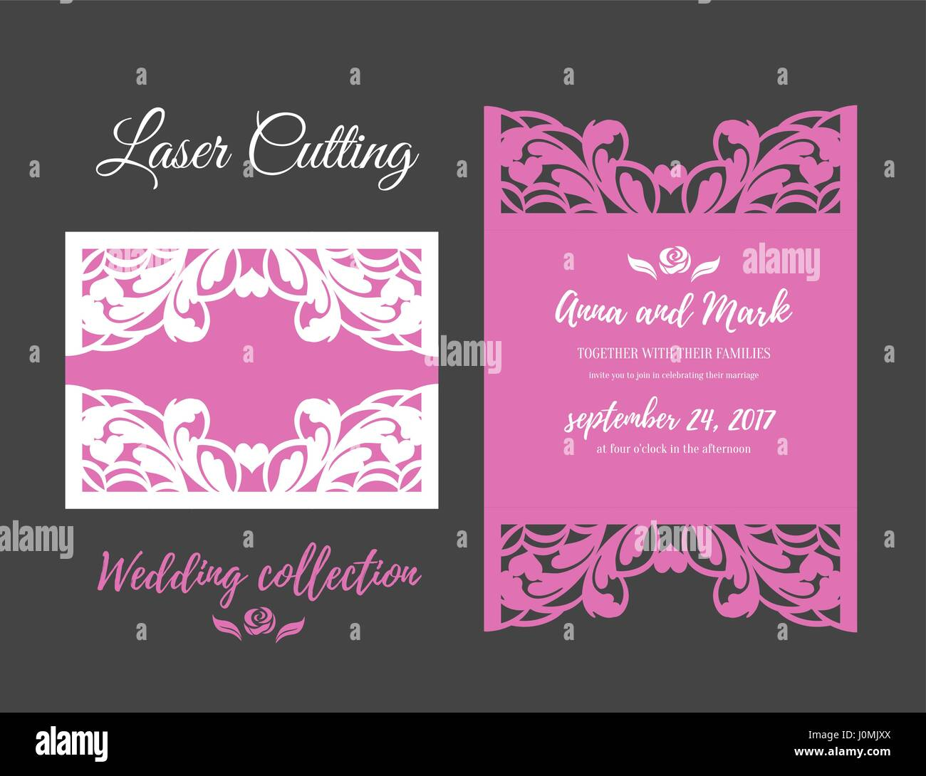 DIY Template for laser cutting. Open card. The front and rear side. vector can be used as an envelope. Wedding die - Stock Vector