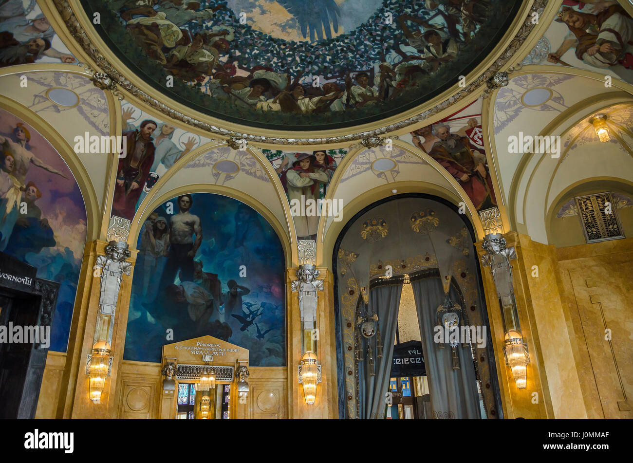 Municipal House in Prague is the city's foremost Art Nouveau building, and one of the finest in Europe. Stock Photo