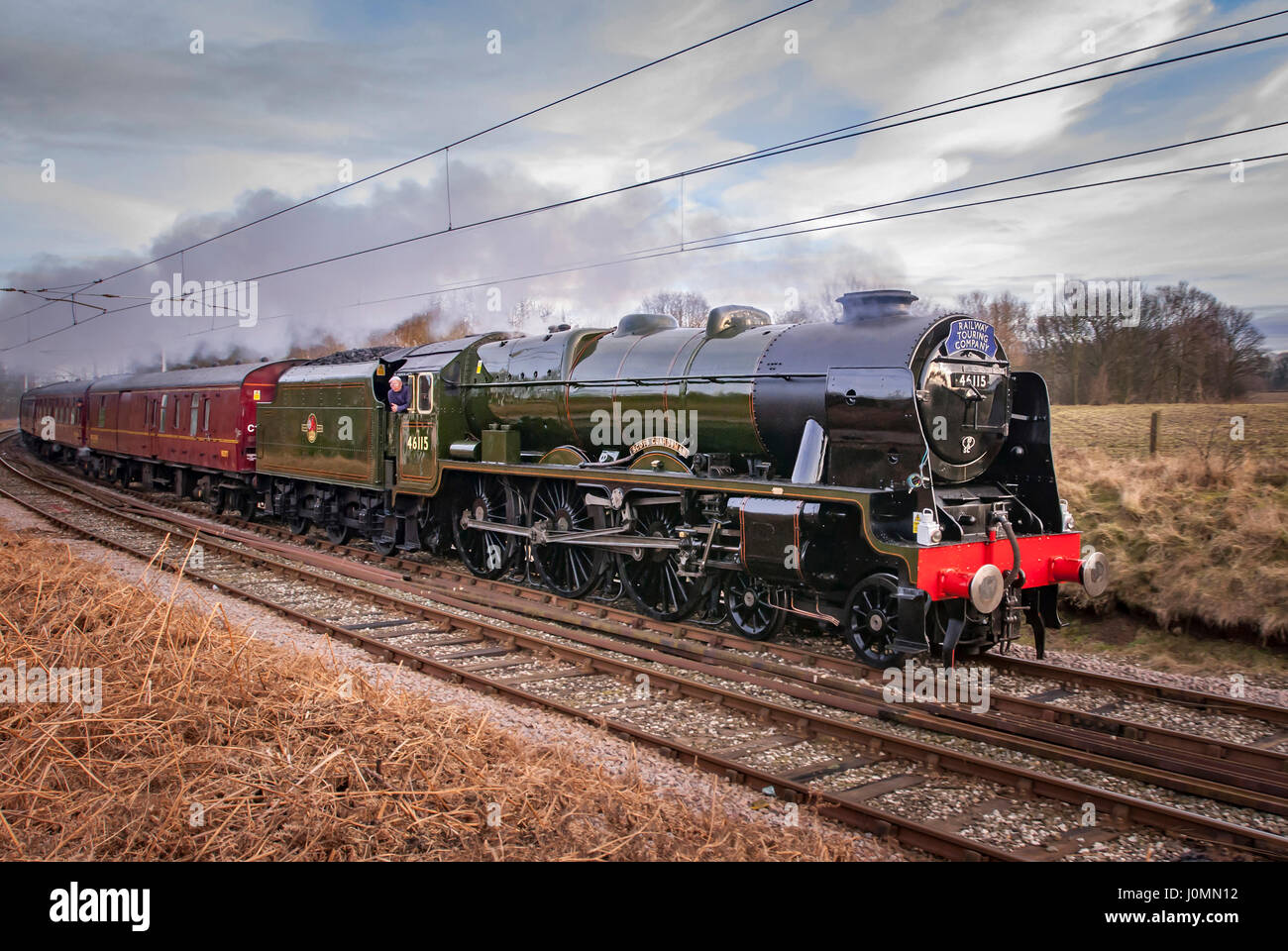 The ill fated Cotton Mills Express re-run on saturday Feb 13th hauled by Class 7P, 46115, 'Scots Guardsman' - Stock Image