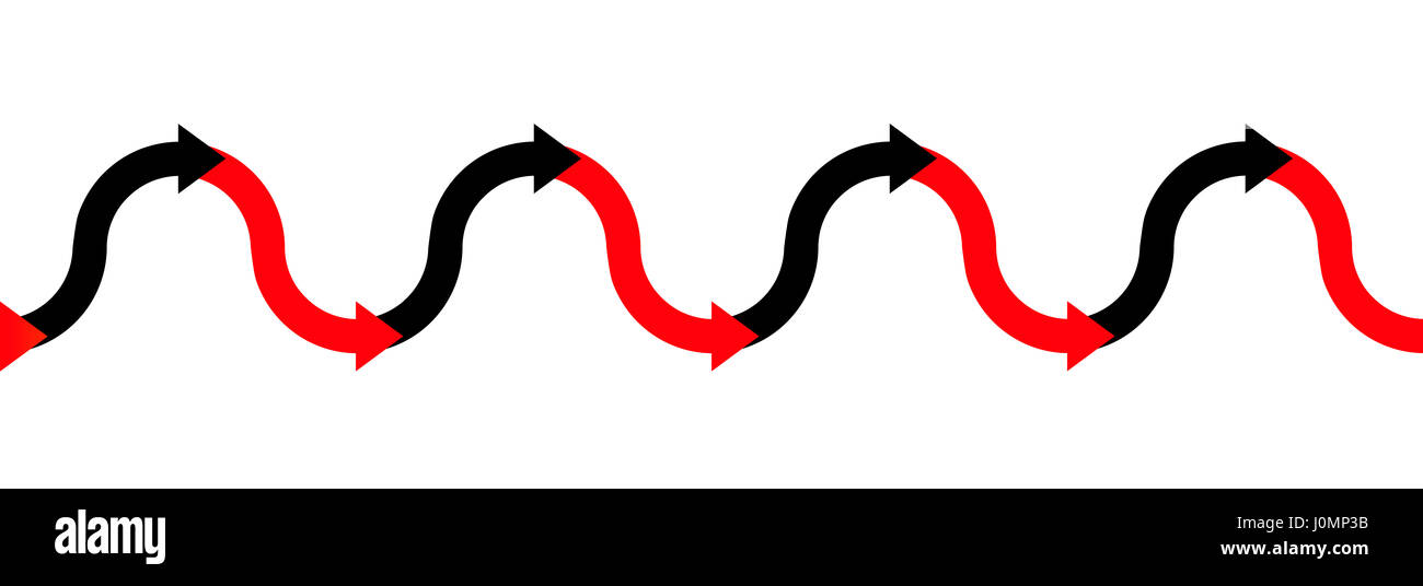 In the red - in the black - up and down arrow wave - business symbol for making profit or having positive income - Stock Image
